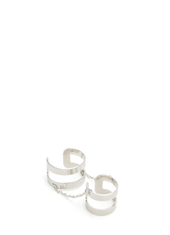 Double Chained Cut-Out Ring Duo SILVER
