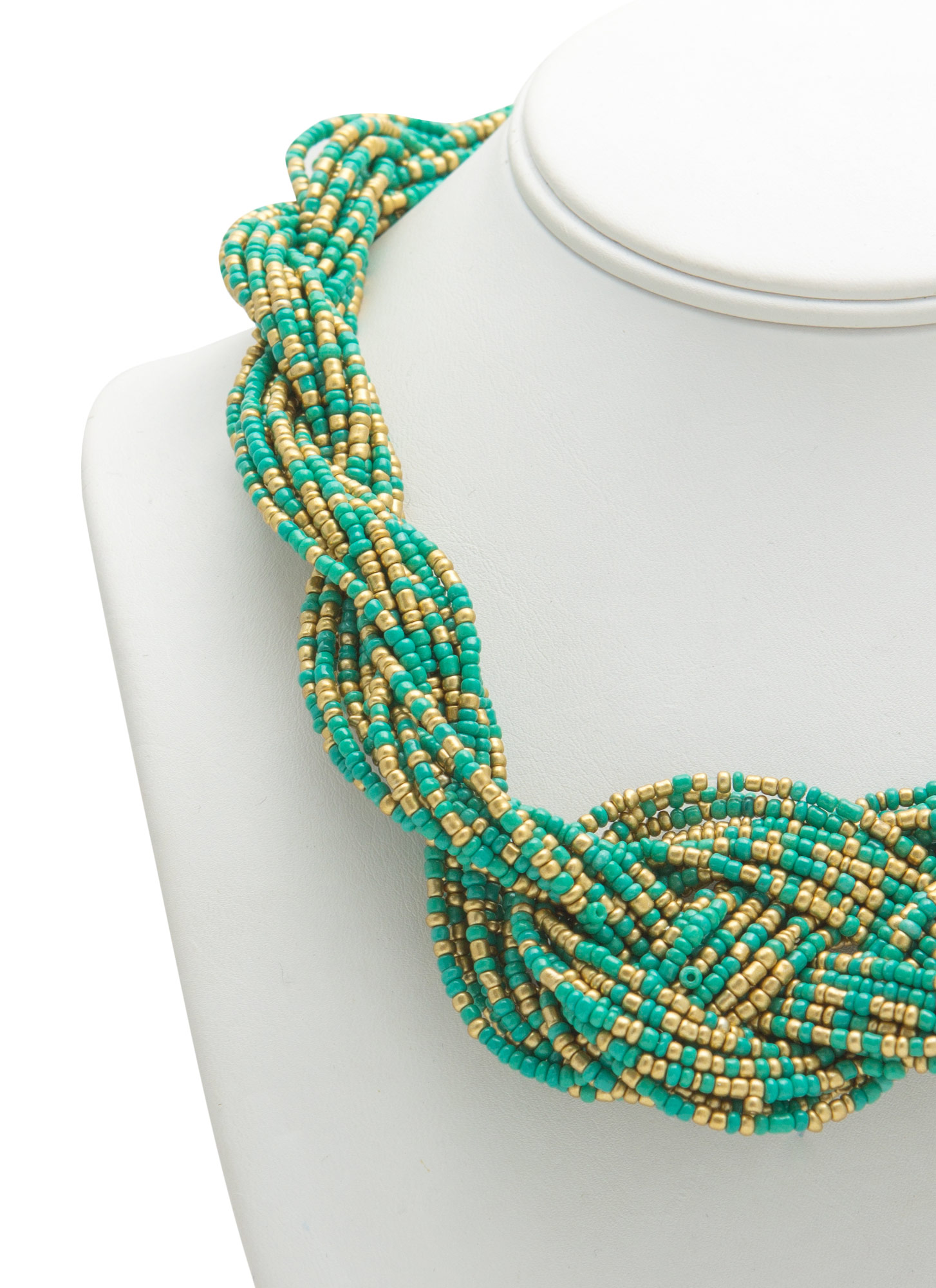 Beaded Twist 'N Braid Necklace TURQGOLD