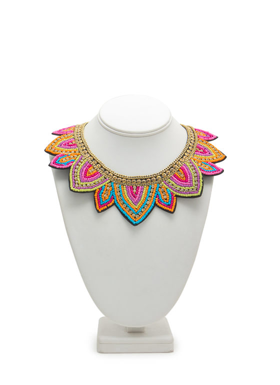 Beaded Rhinestone Sun Rays Necklace PINKMULTI