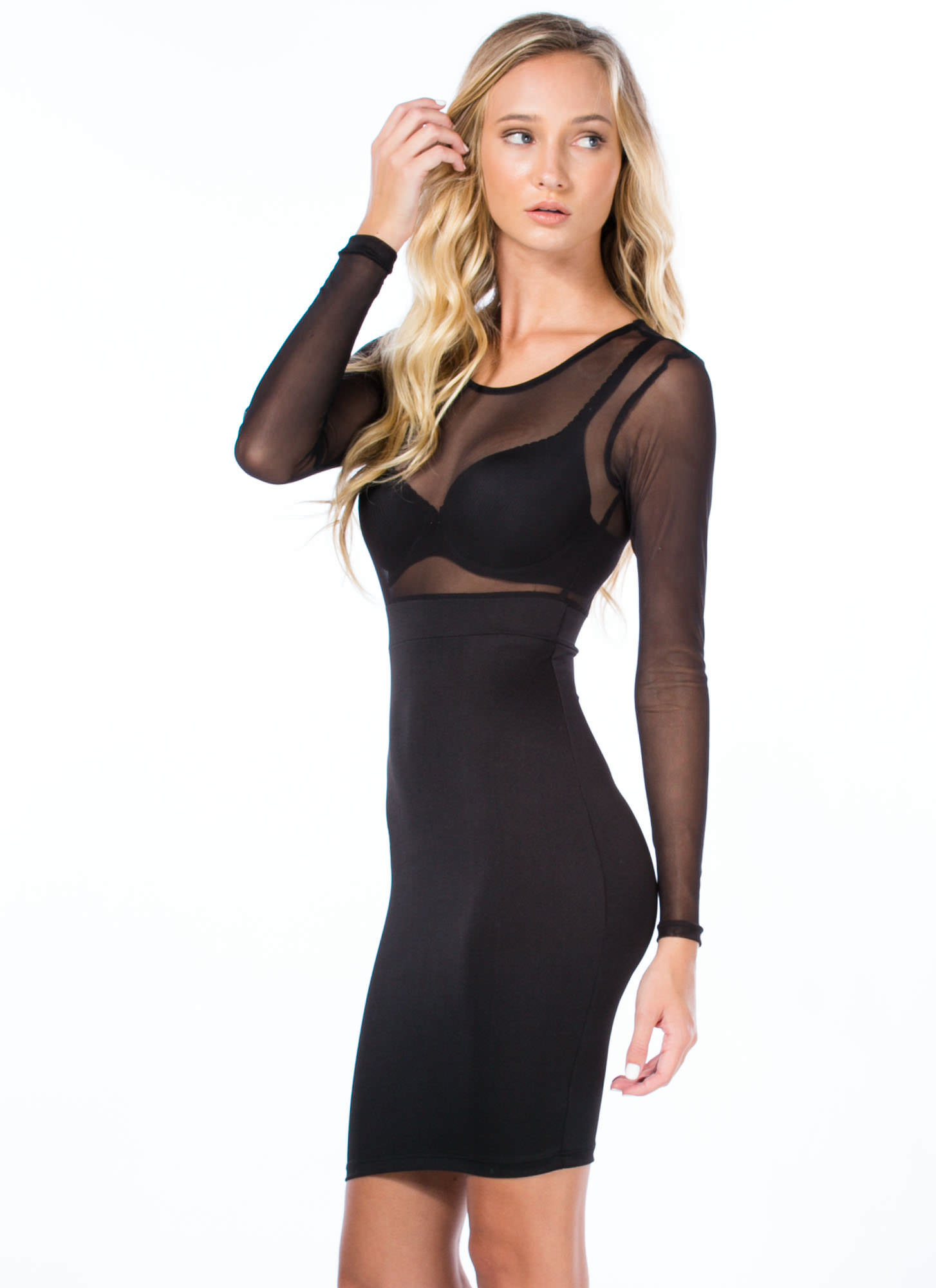 Play It By Sheer Bodycon Dress BLACK