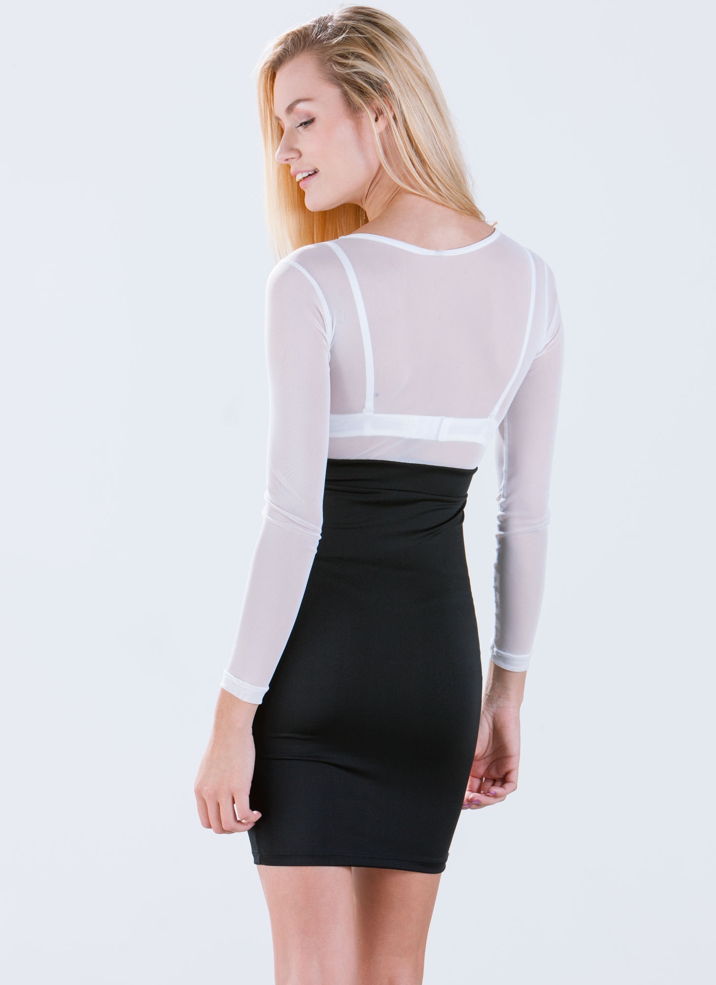 Play It By Sheer Bodycon Dress WHITE