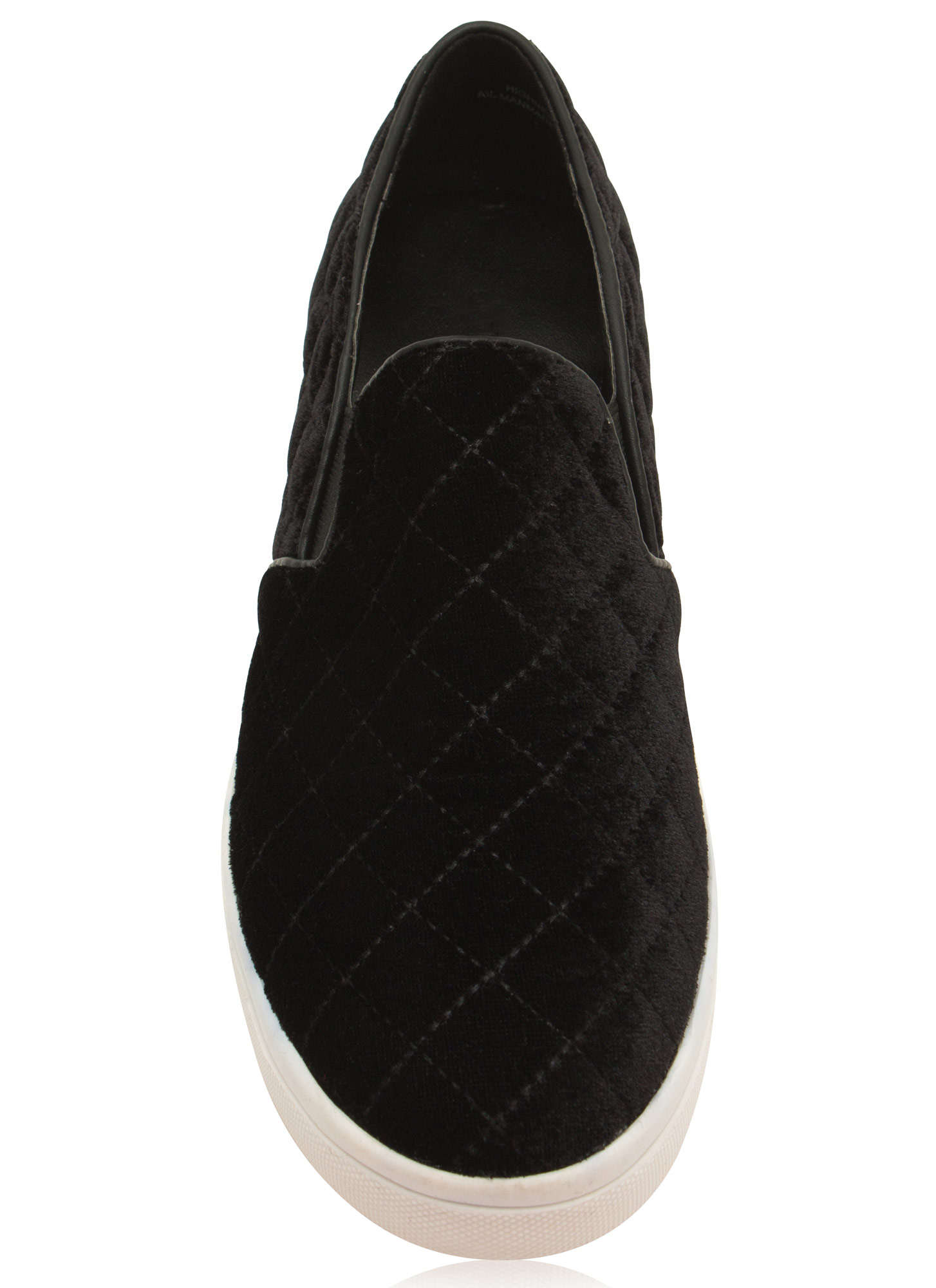 Quilt Trip Velvety Slip-On Sneakers BLACK