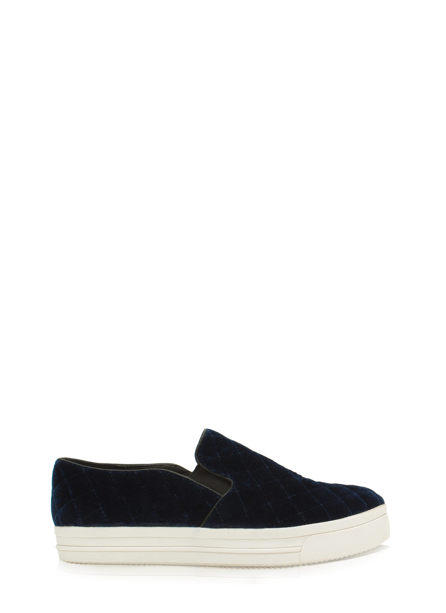Quilt Trip Velvety Slip-On Sneakers NAVY