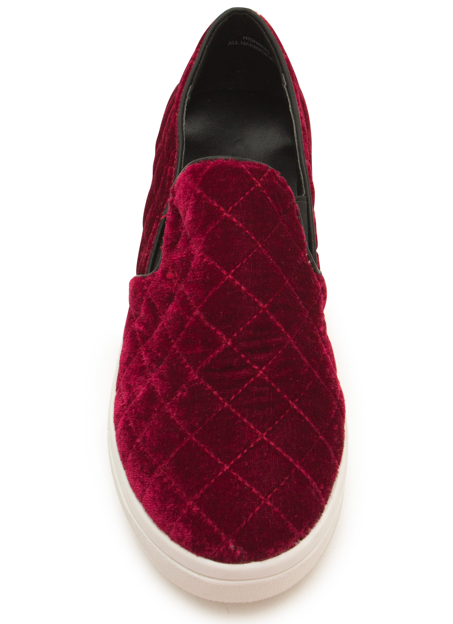 Quilt Trip Velvety Slip-On Sneakers OXBLOOD