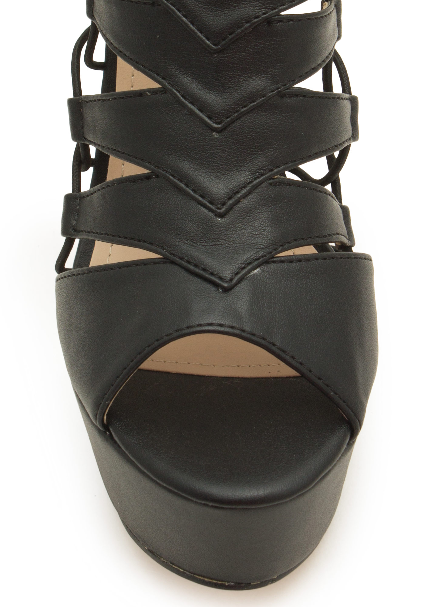 Epic Scale Faux Leather Heels BLACK
