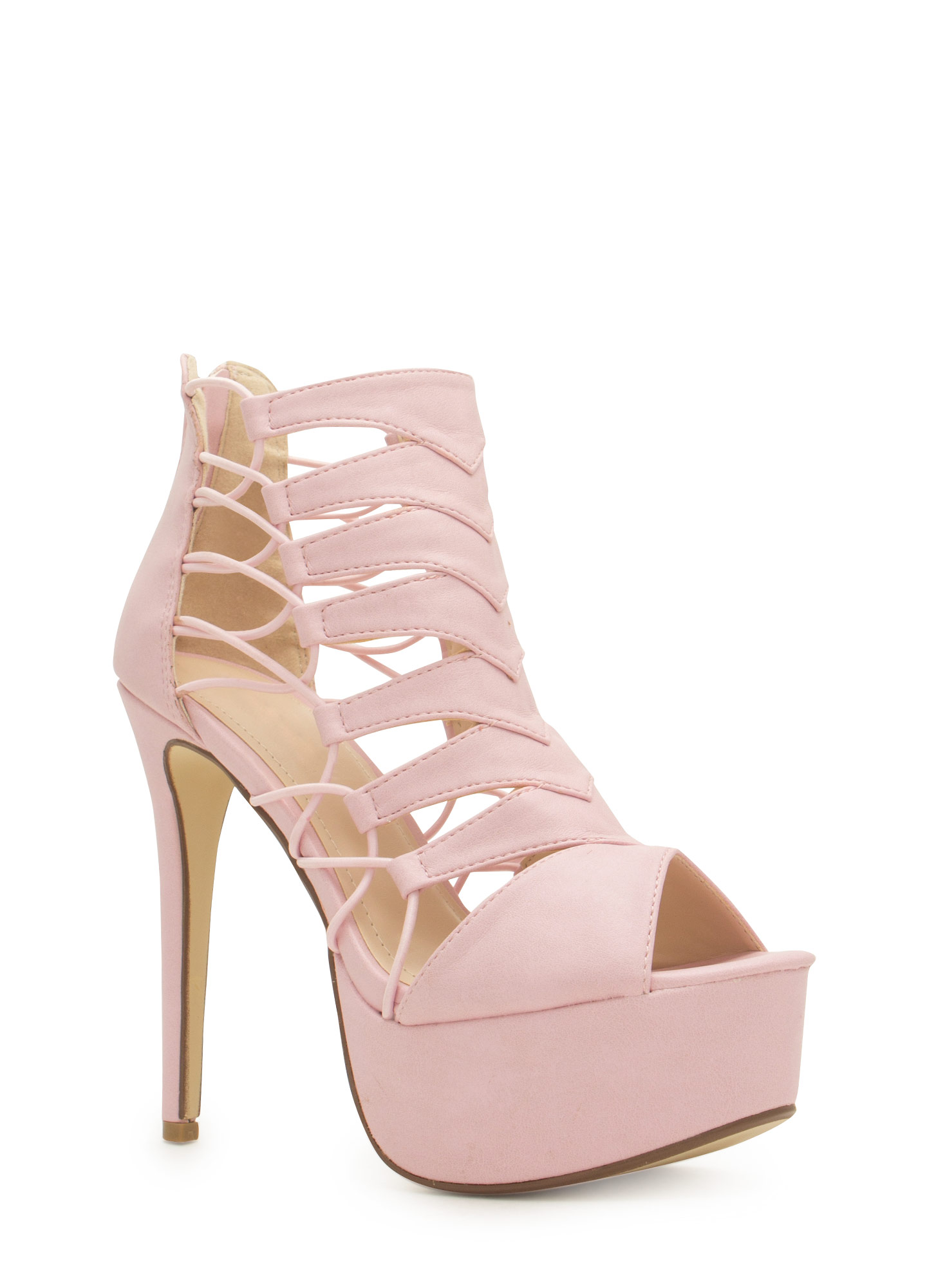 Epic Scale Faux Leather Heels PINK