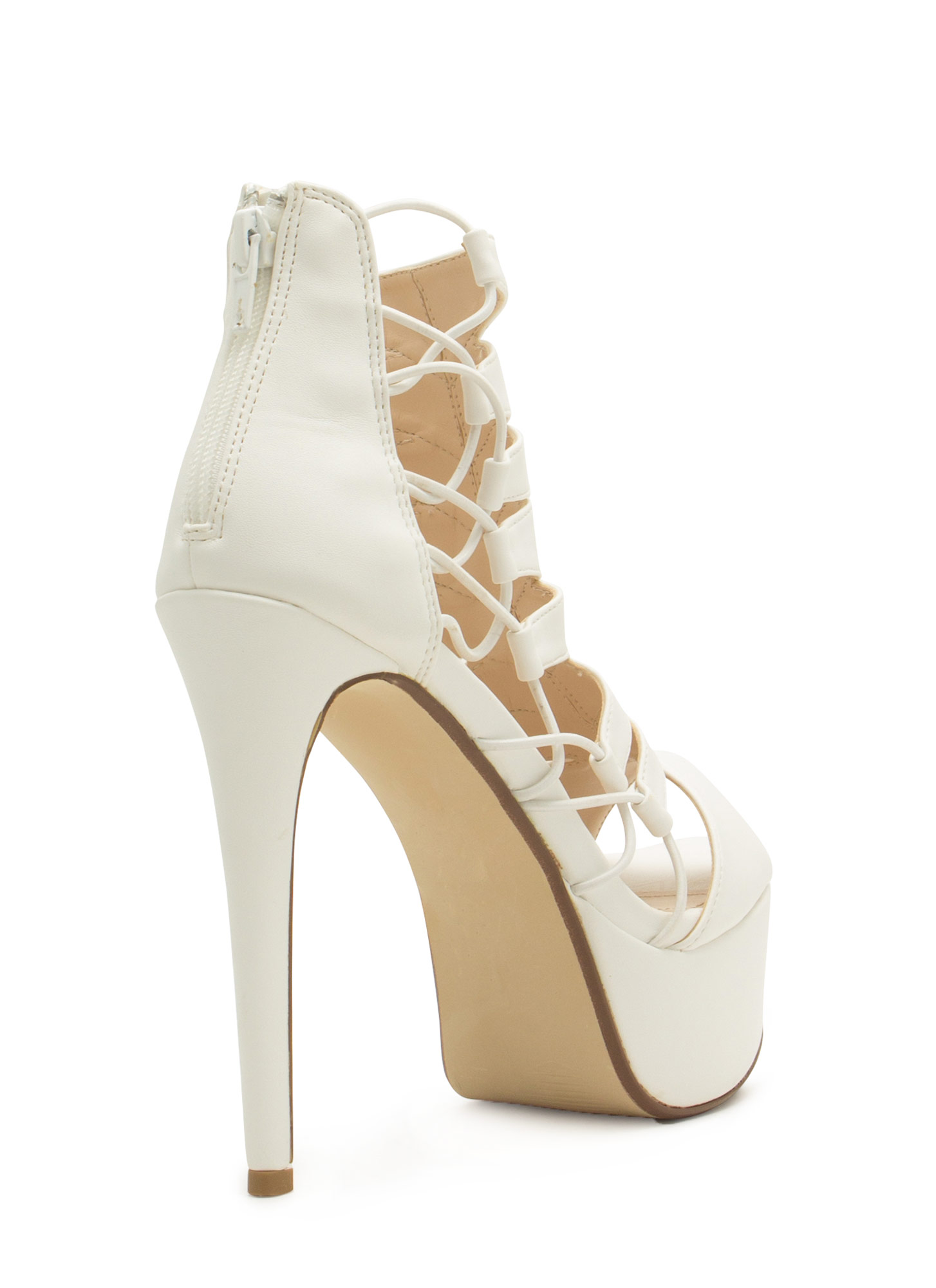 Epic Scale Faux Leather Heels WHITE