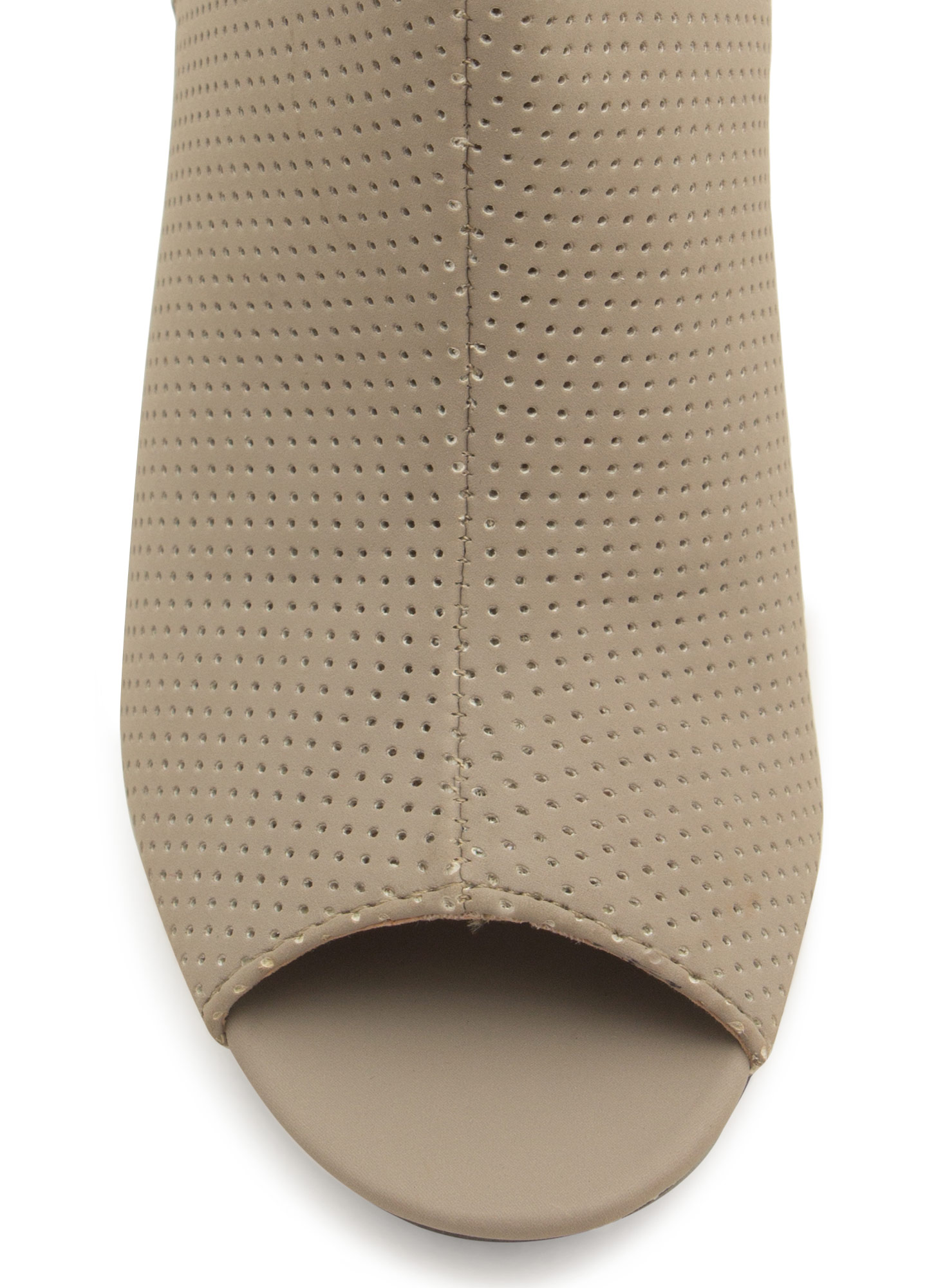 Peep-Toe Show Perforated Booties STONE