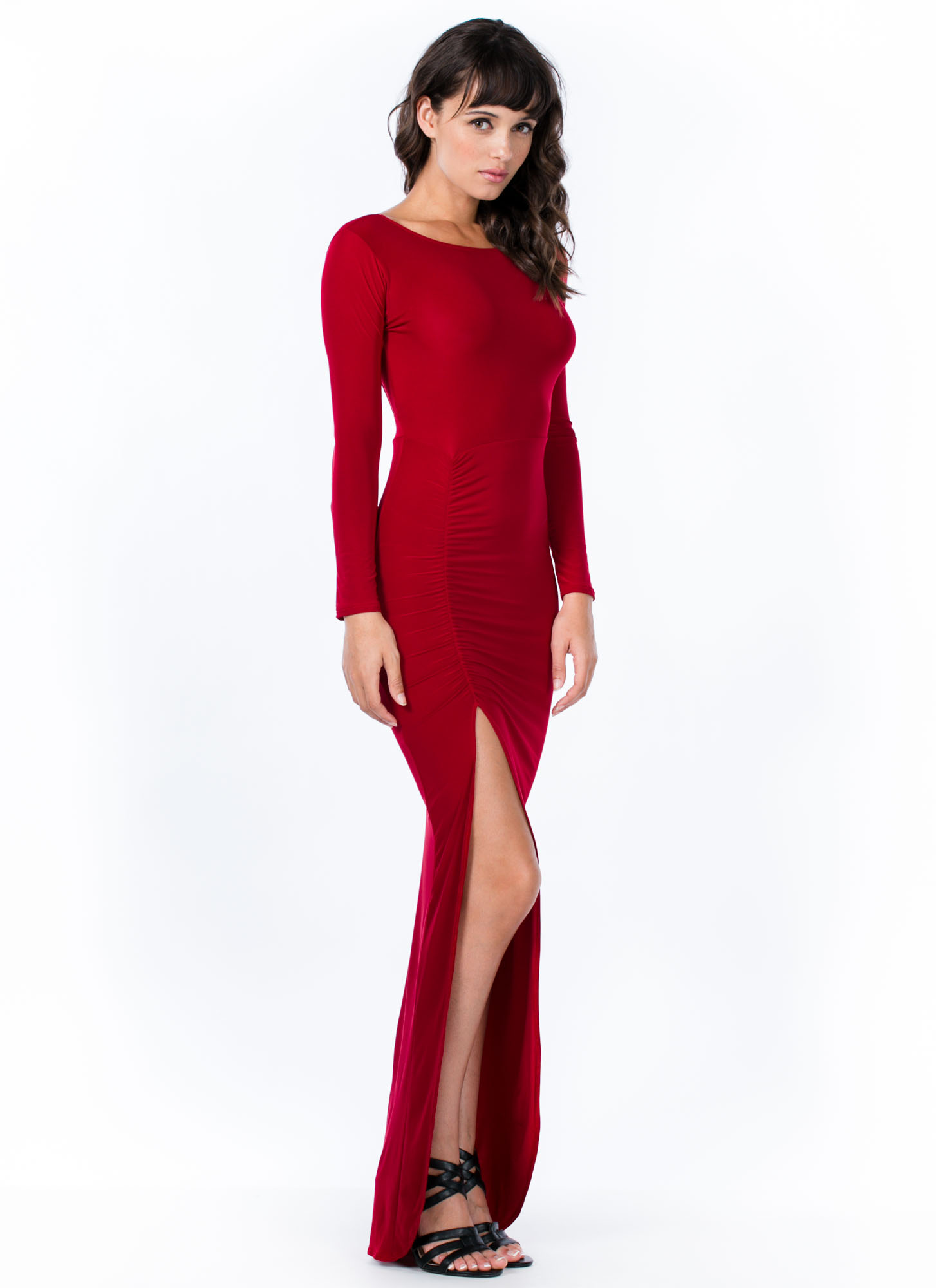 In A Ruche Draped Square Back Maxi RED