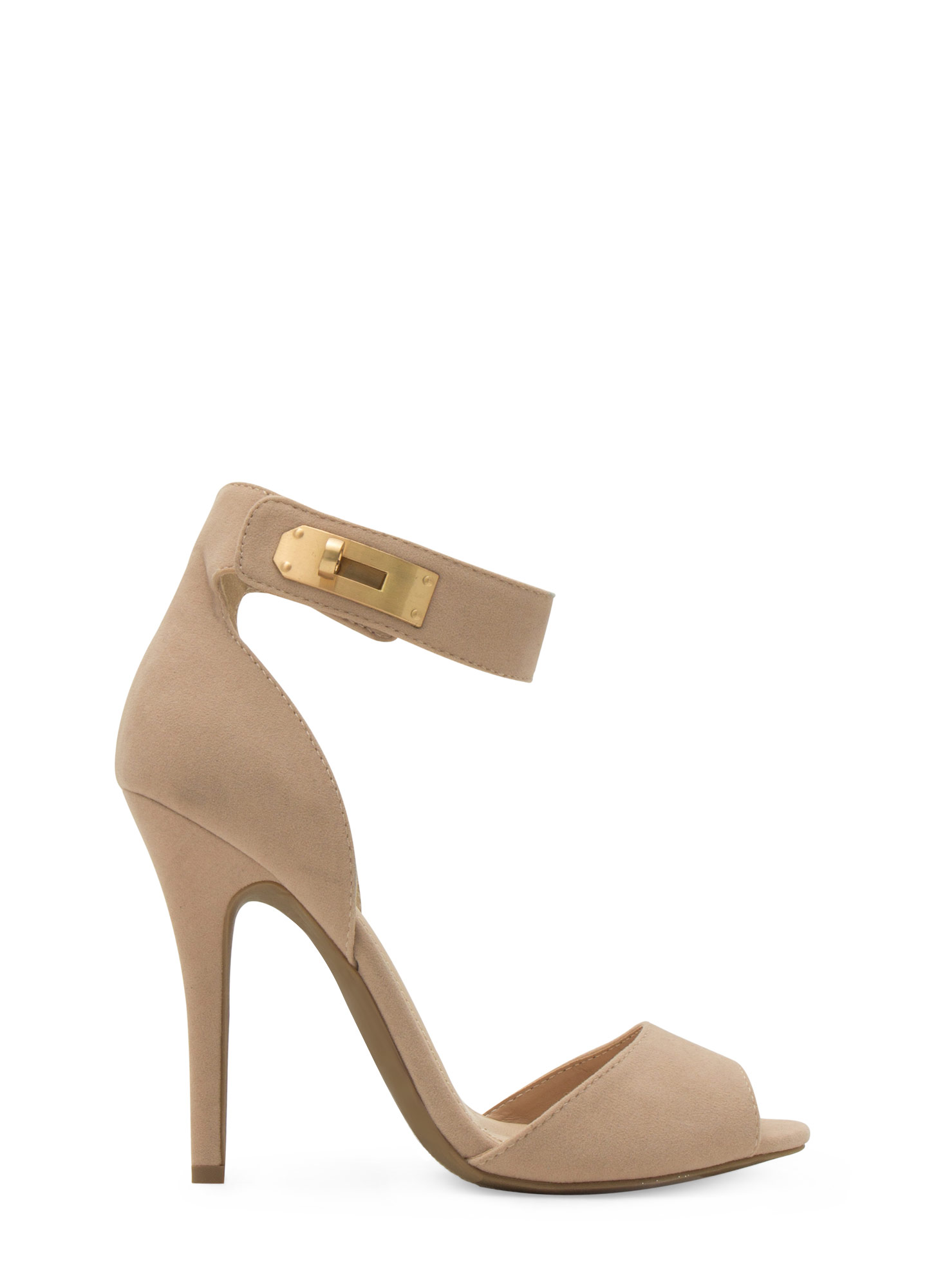 Twist Lock Me Up Ankle Strap Heels NUDE