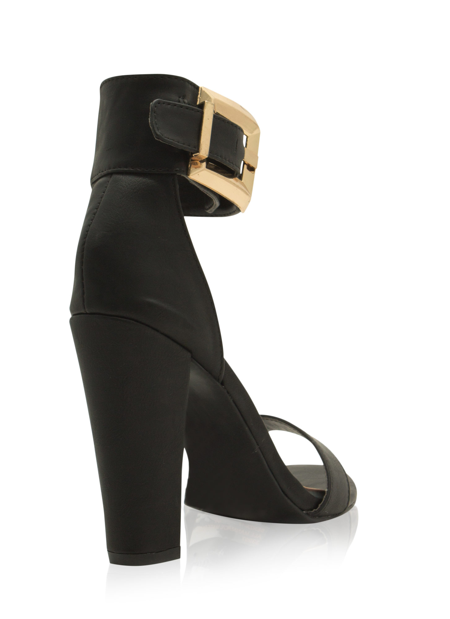 Buckle Up Ankle Cuff Chunky Heels BLACK