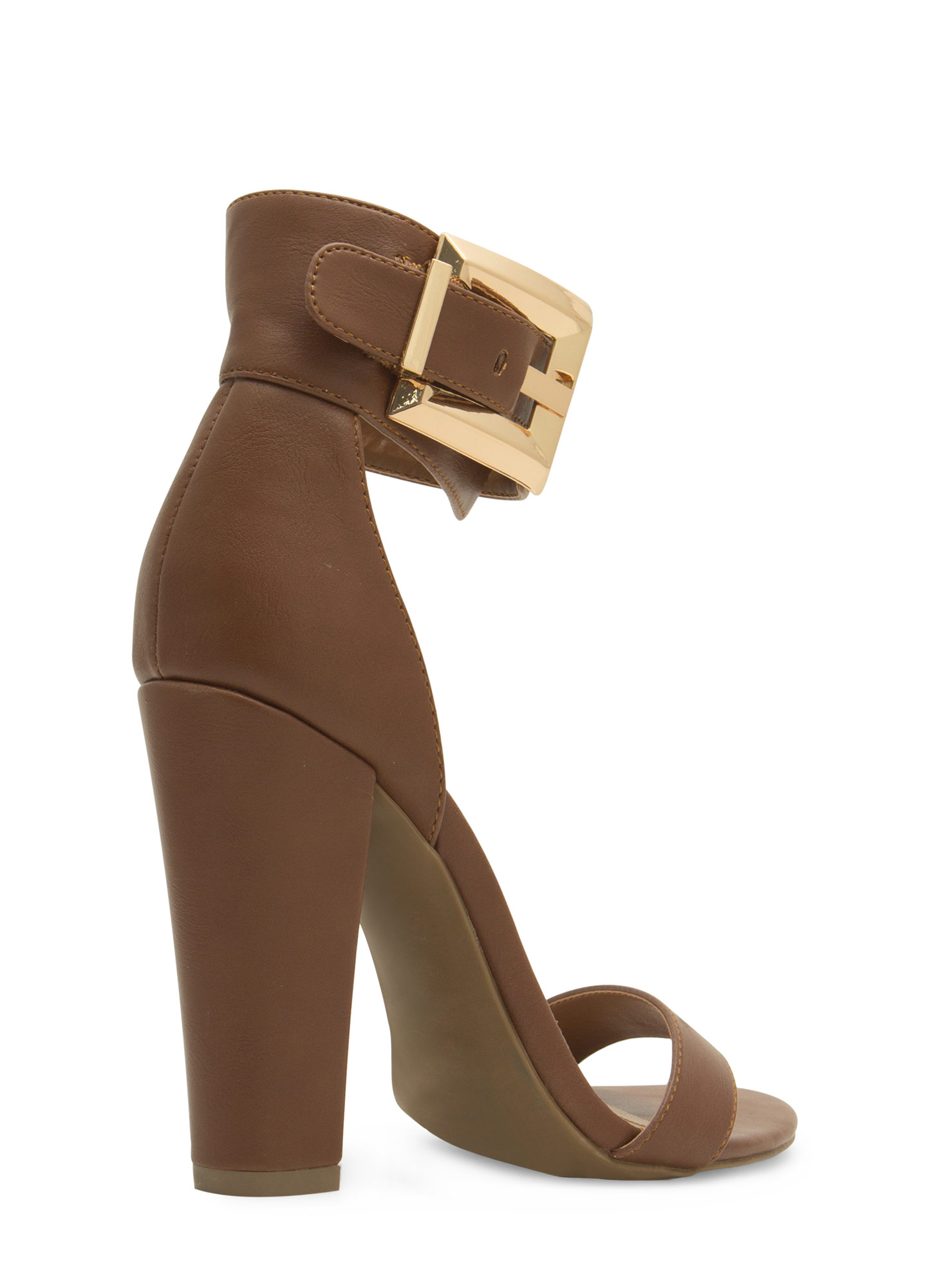 Buckle Up Ankle Cuff Chunky Heels CHESTNUT