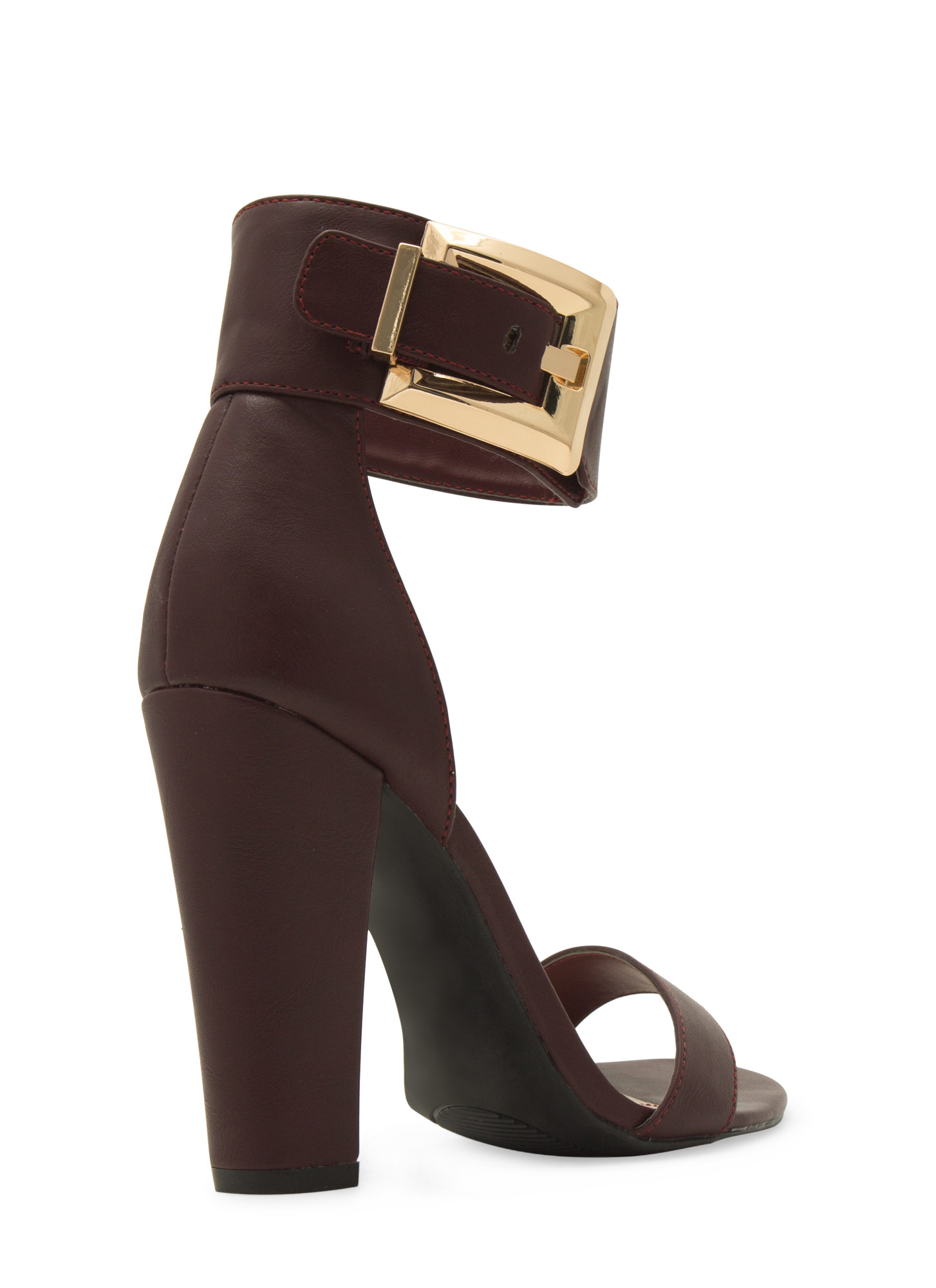 Buckle Up Ankle Cuff Chunky Heels OXBLOOD