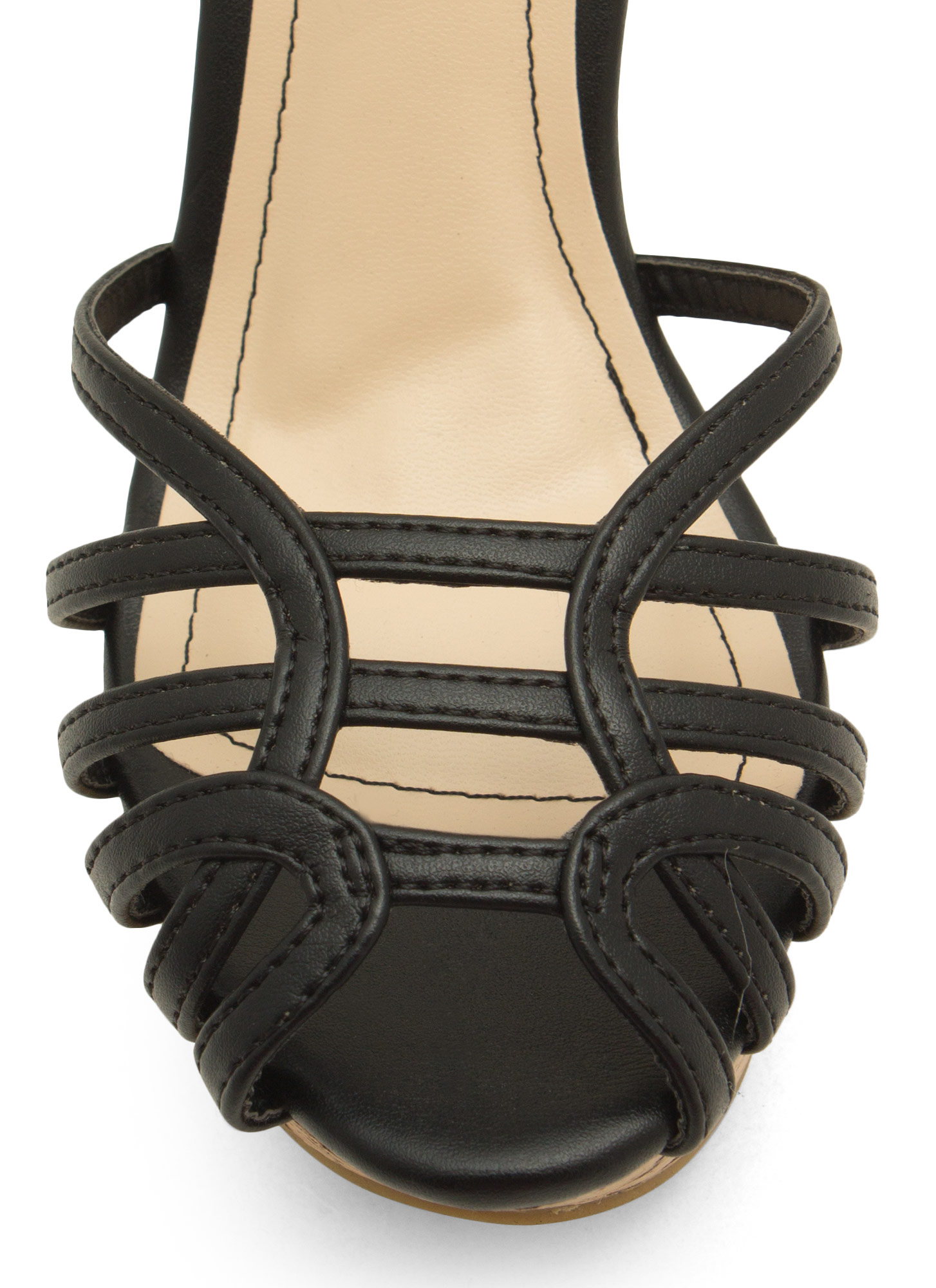 Corked 'N Caged Platform Wedges BLACK