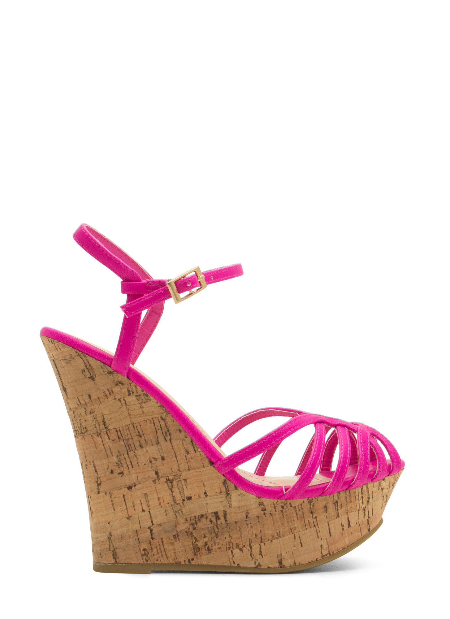 Corked 'N Caged Platform Wedges MAGENTA