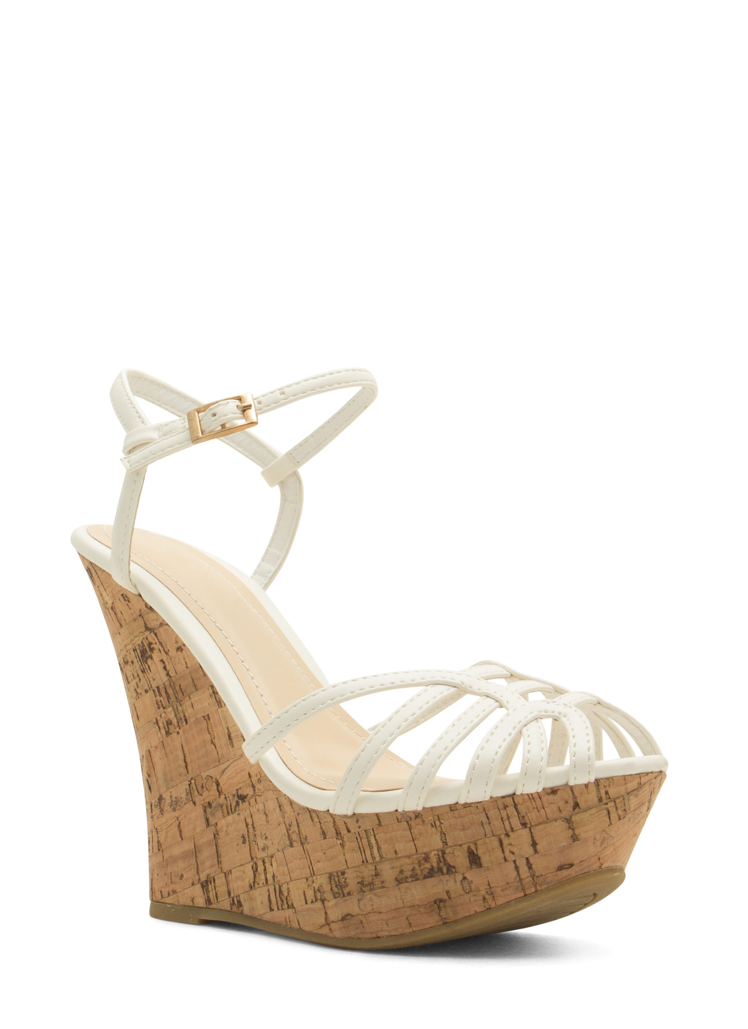 Corked 'N Caged Platform Wedges WHITE