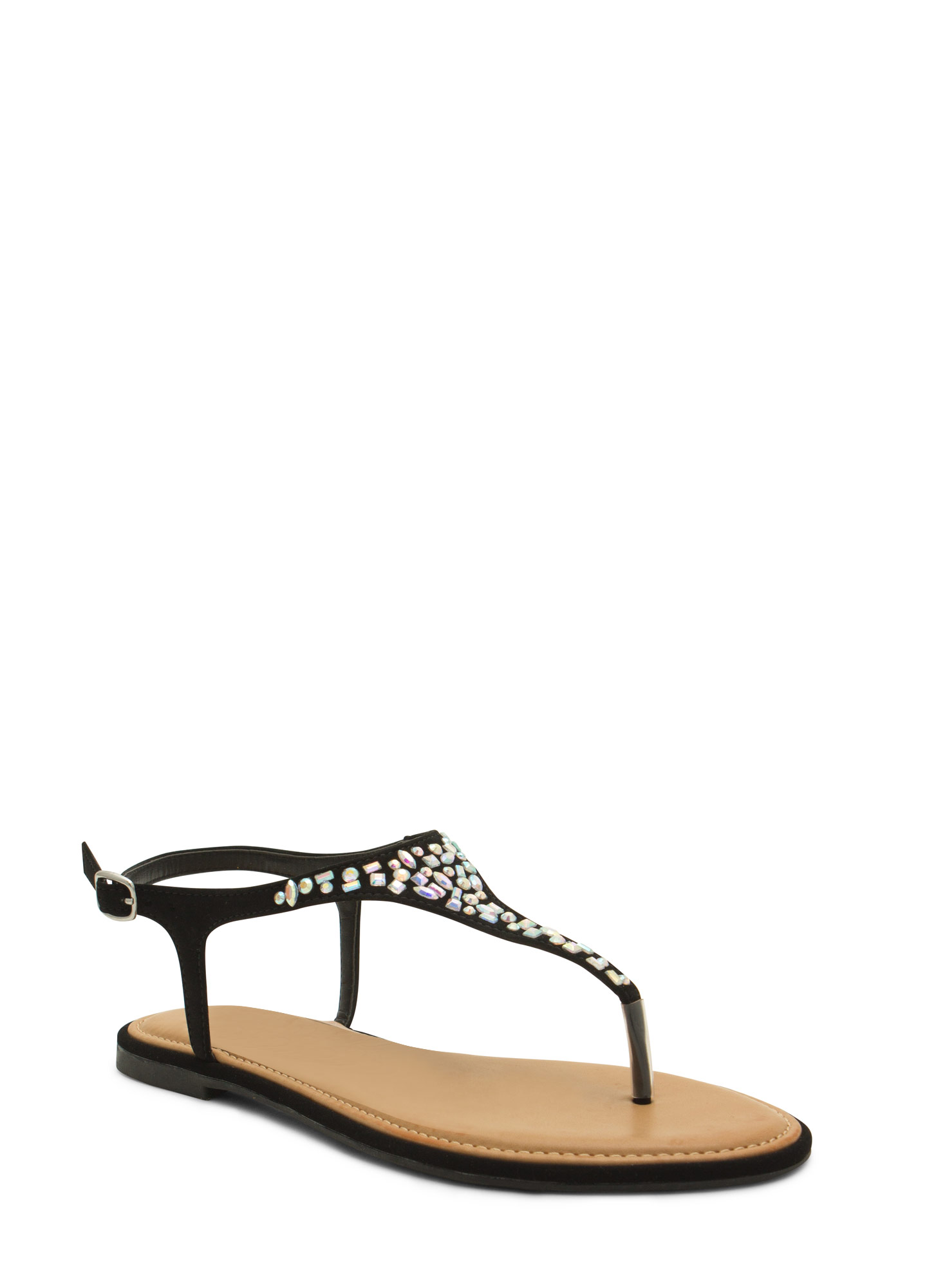 Embellished Tapered T-Strap Sandals BLACK