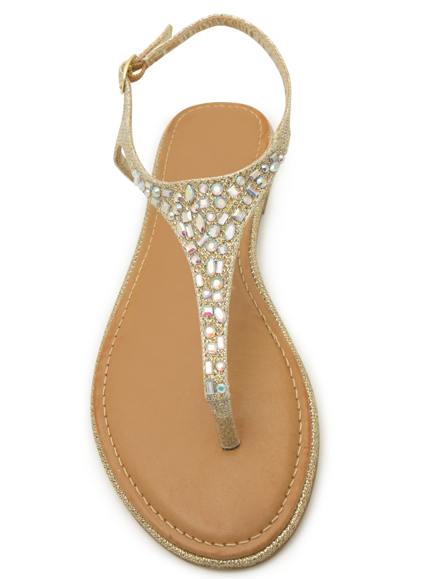 Embellished Tapered T-Strap Sandals GOLD