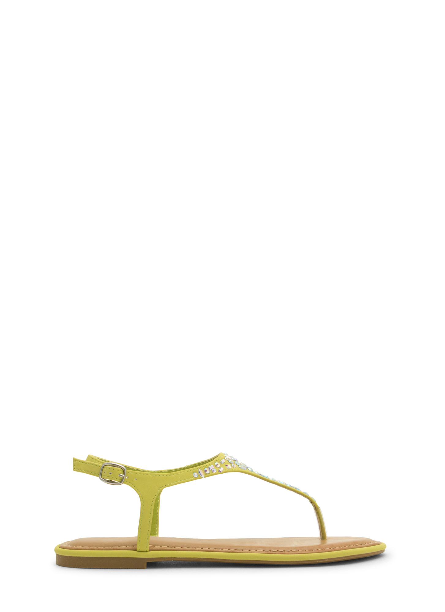 Embellished Tapered T-Strap Sandals LIME