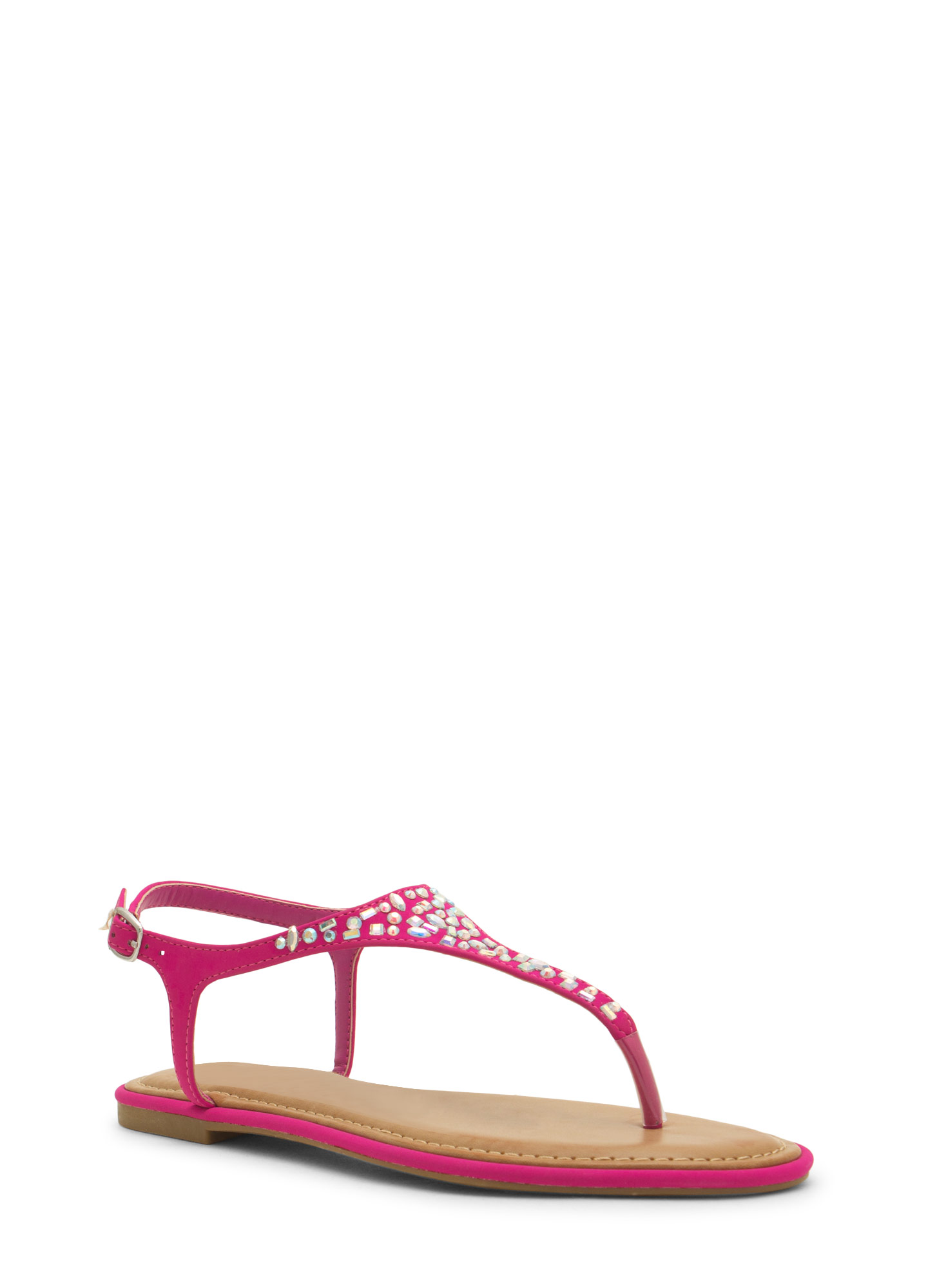 Embellished Tapered T-Strap Sandals MAGENTA