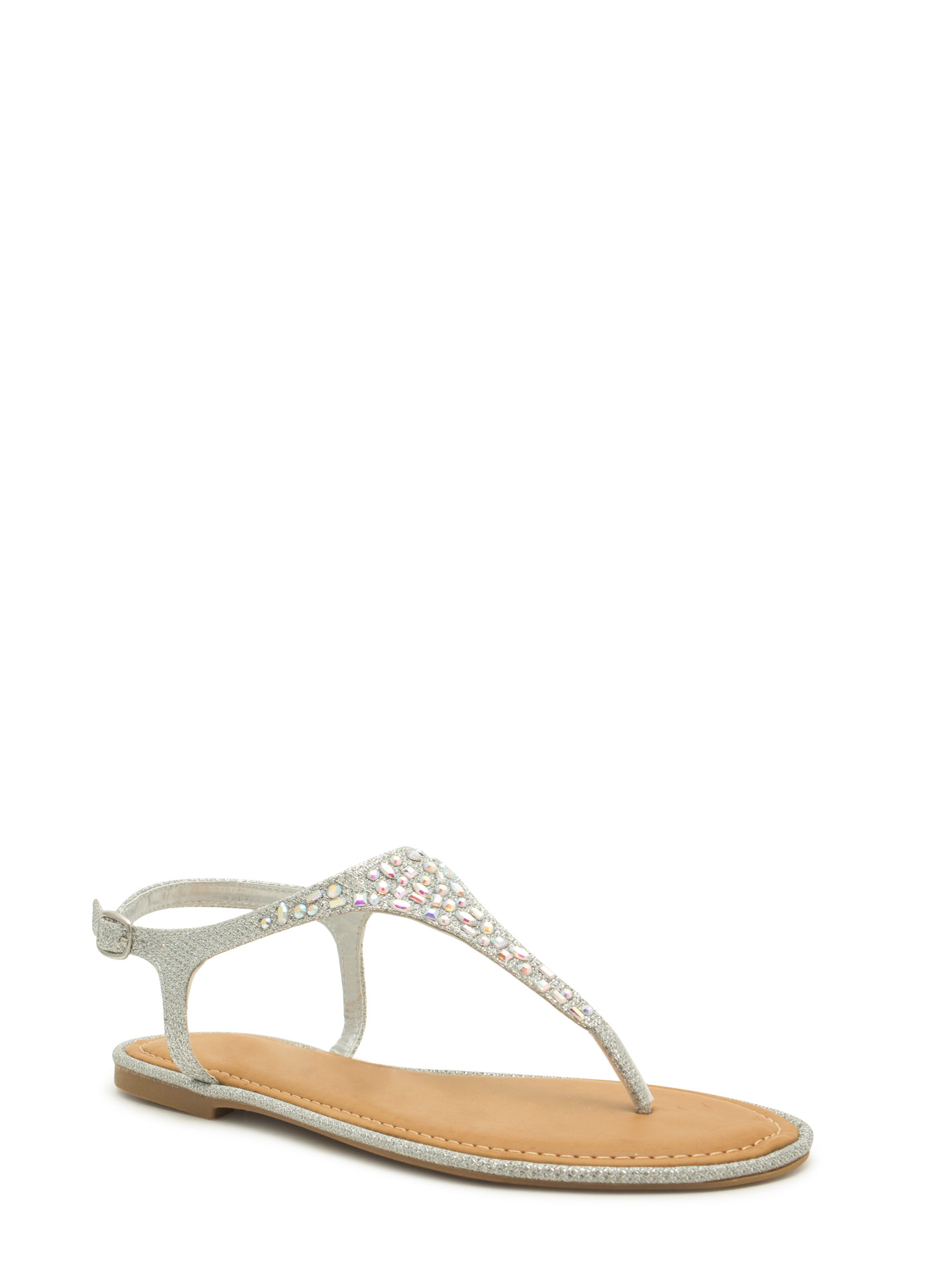Embellished Tapered T-Strap Sandals SILVER