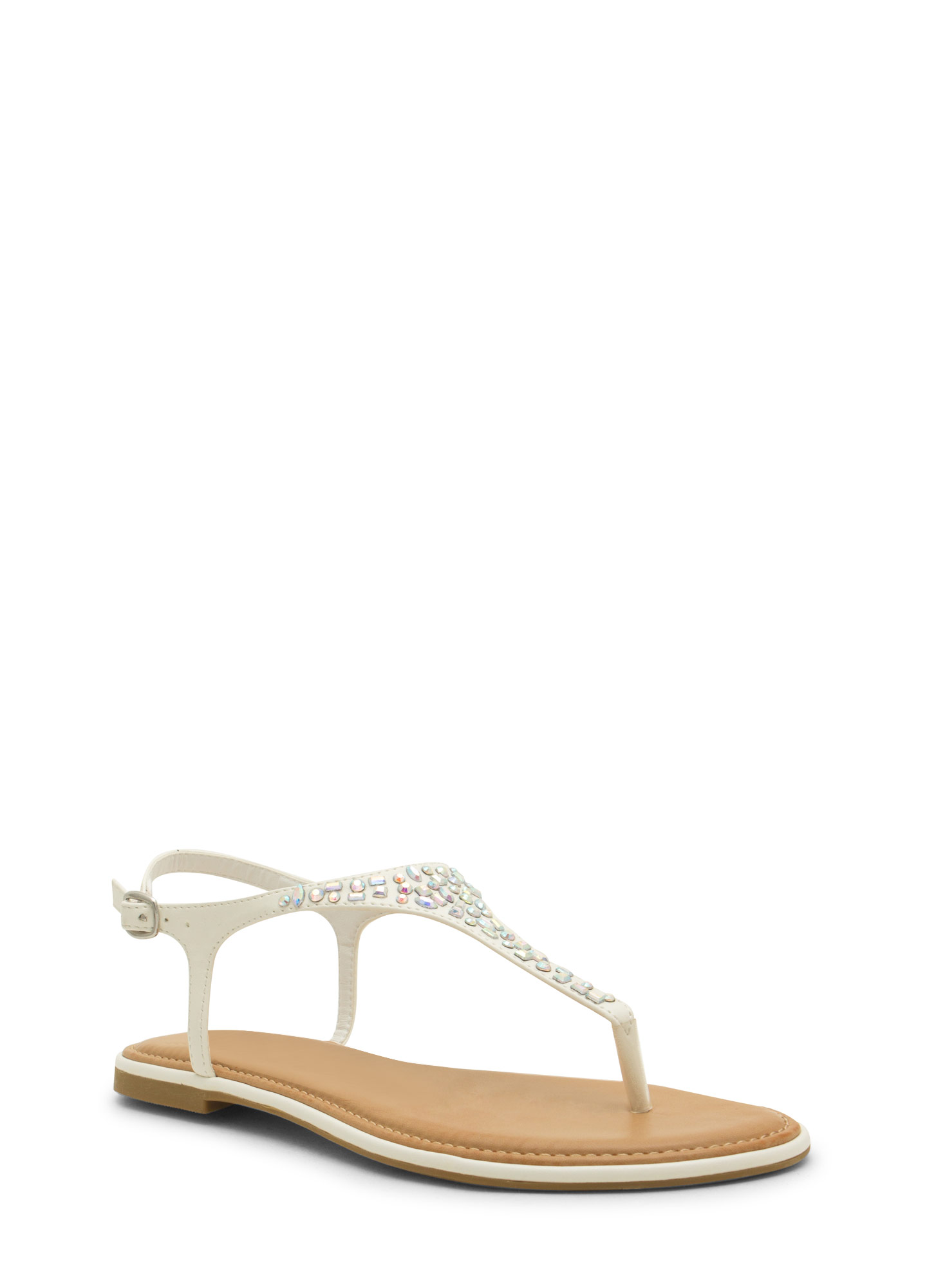 Embellished Tapered T-Strap Sandals WHITE