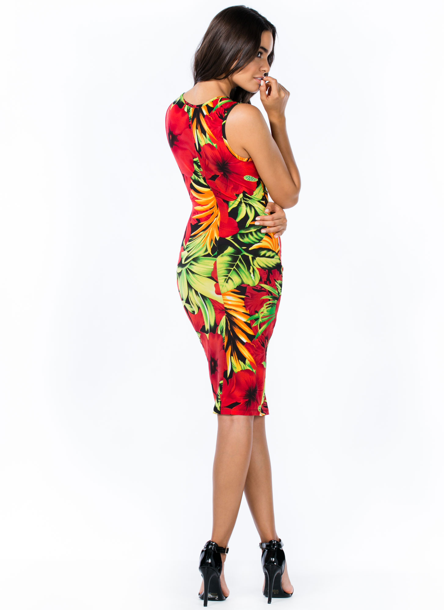 Twisted Tropical Thunder Dress RED