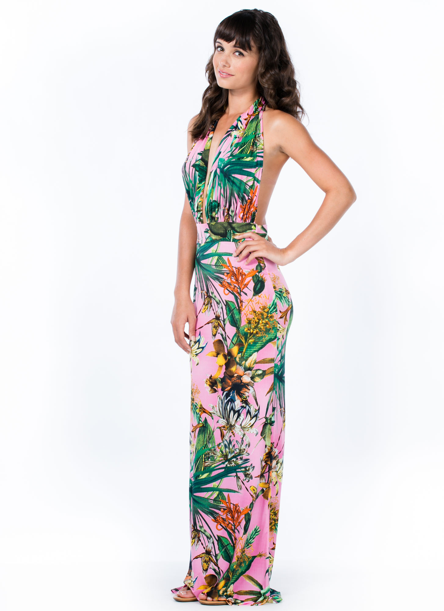 Tropic Nights Halter Maxi Dress PINK