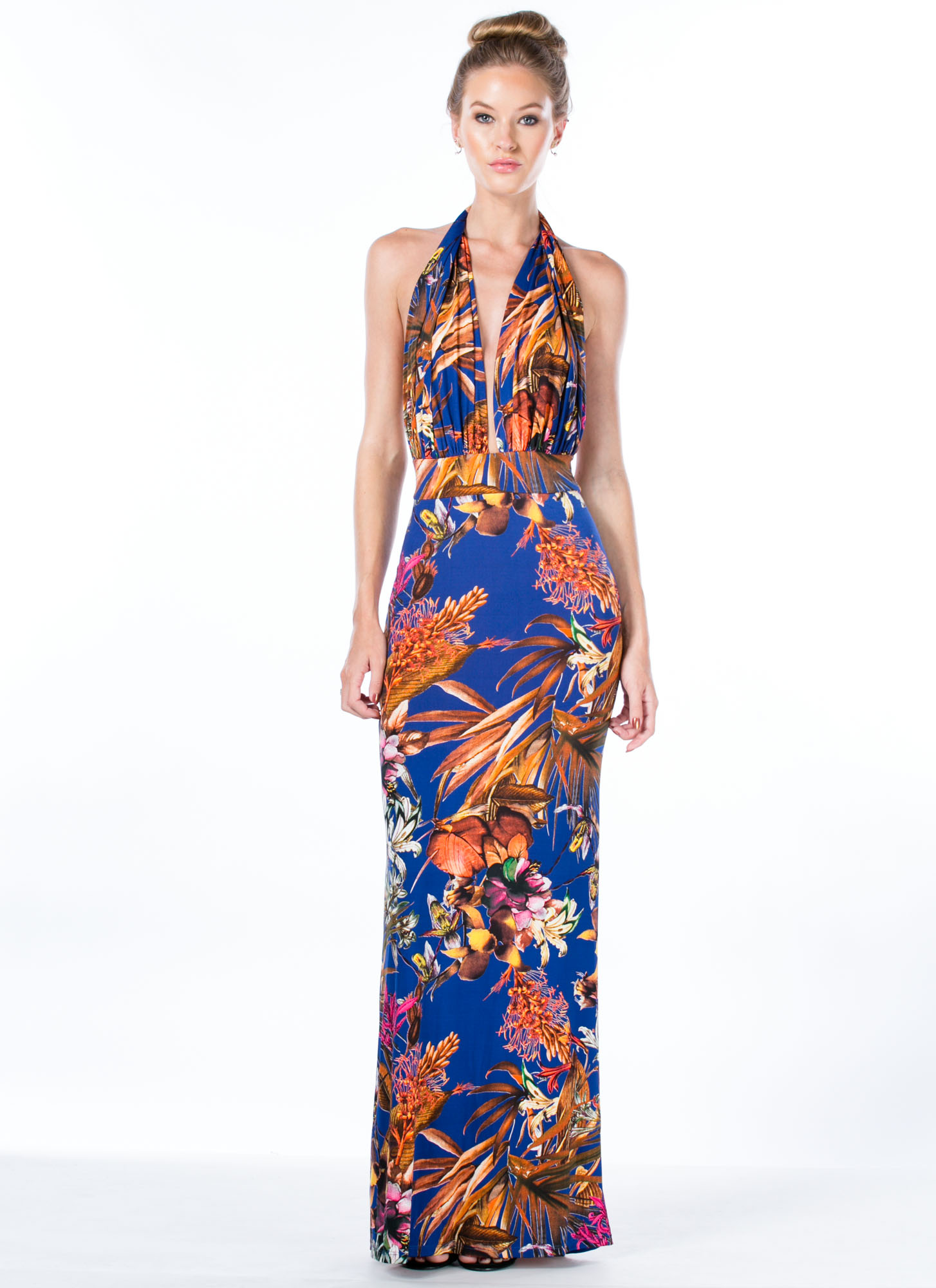 Tropic Nights Halter Maxi Dress ROYAL
