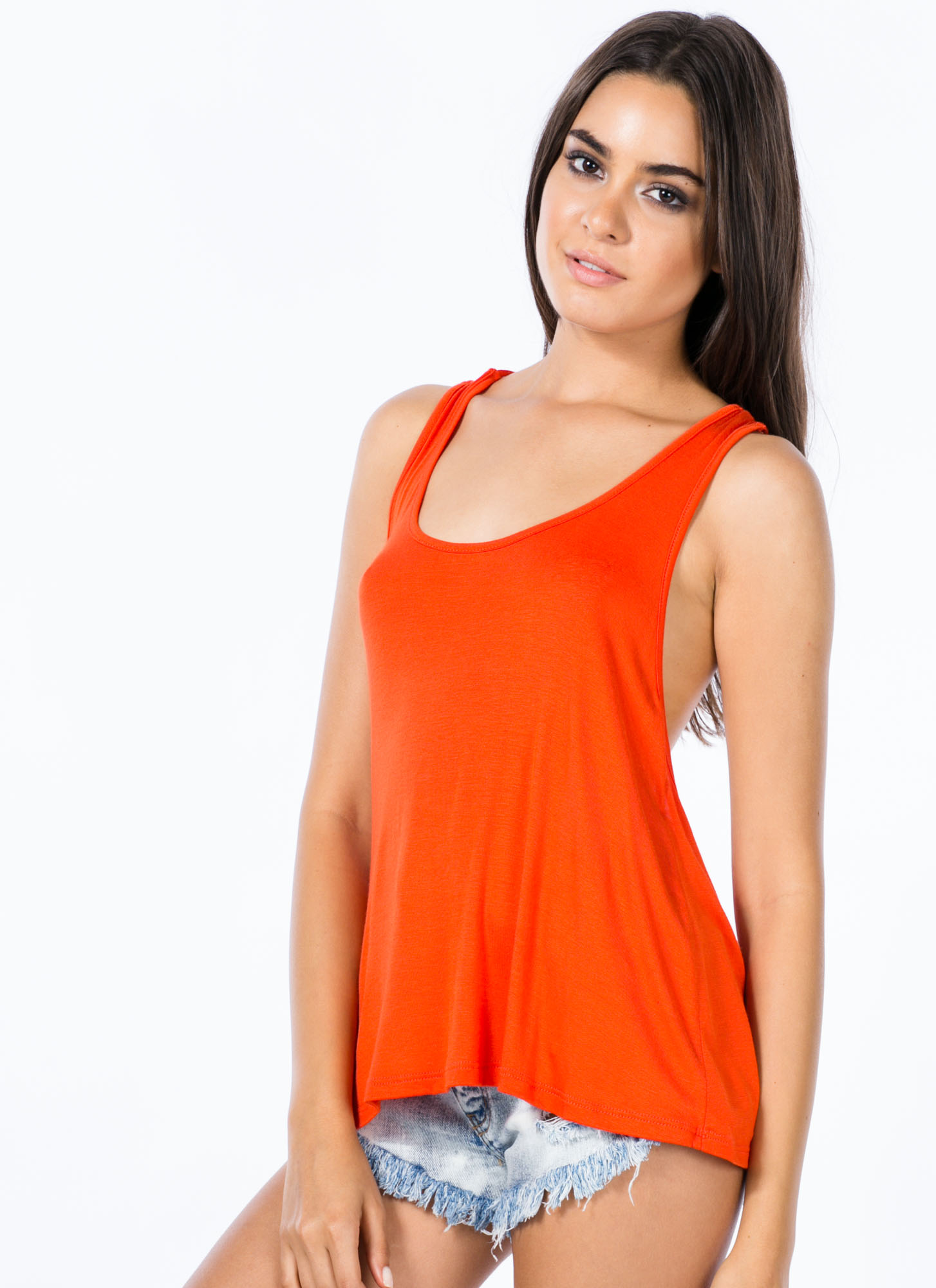 Knotty Girl Tank Top ORANGE