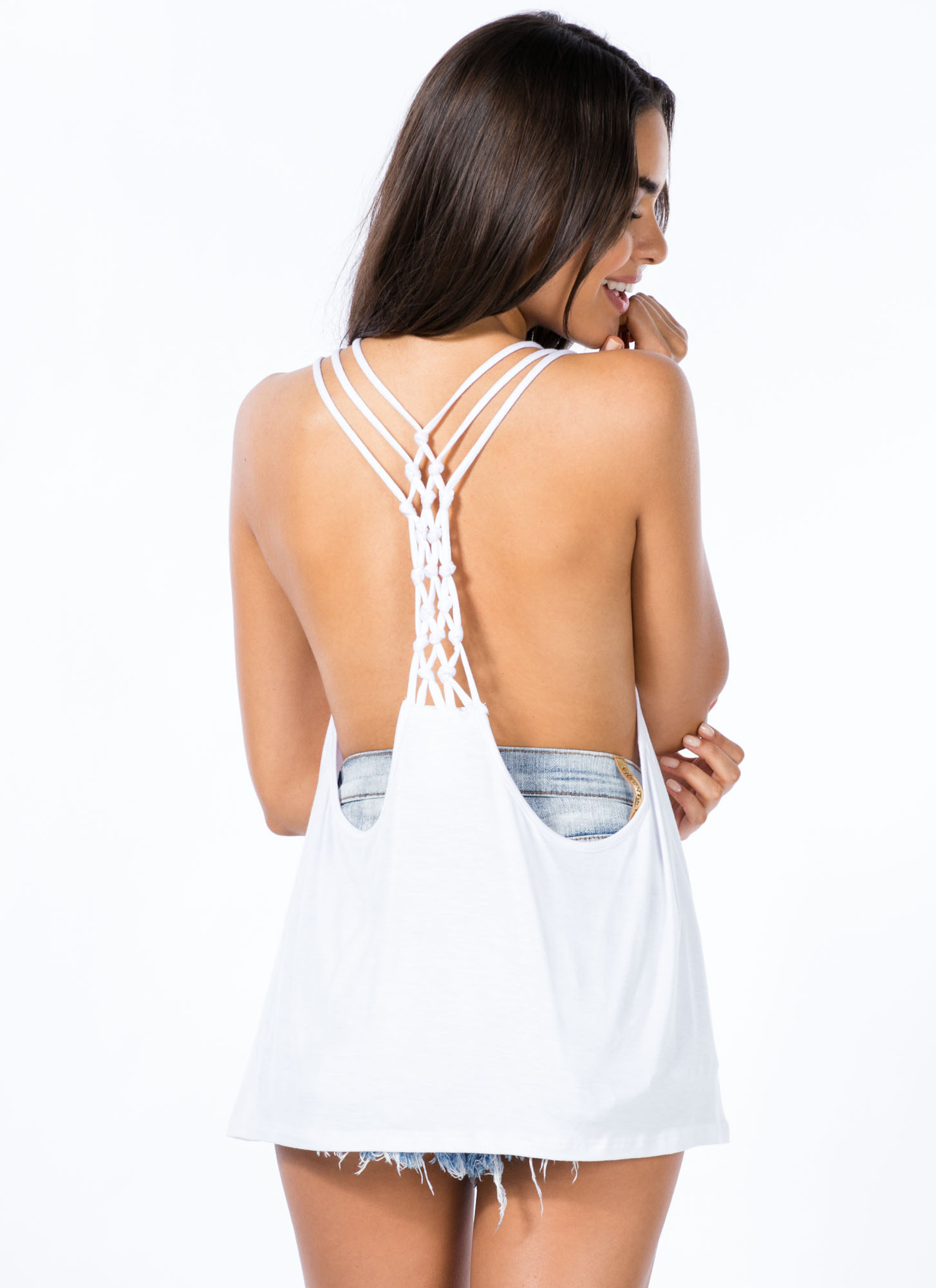 Knotty Girl Tank Top WHITE