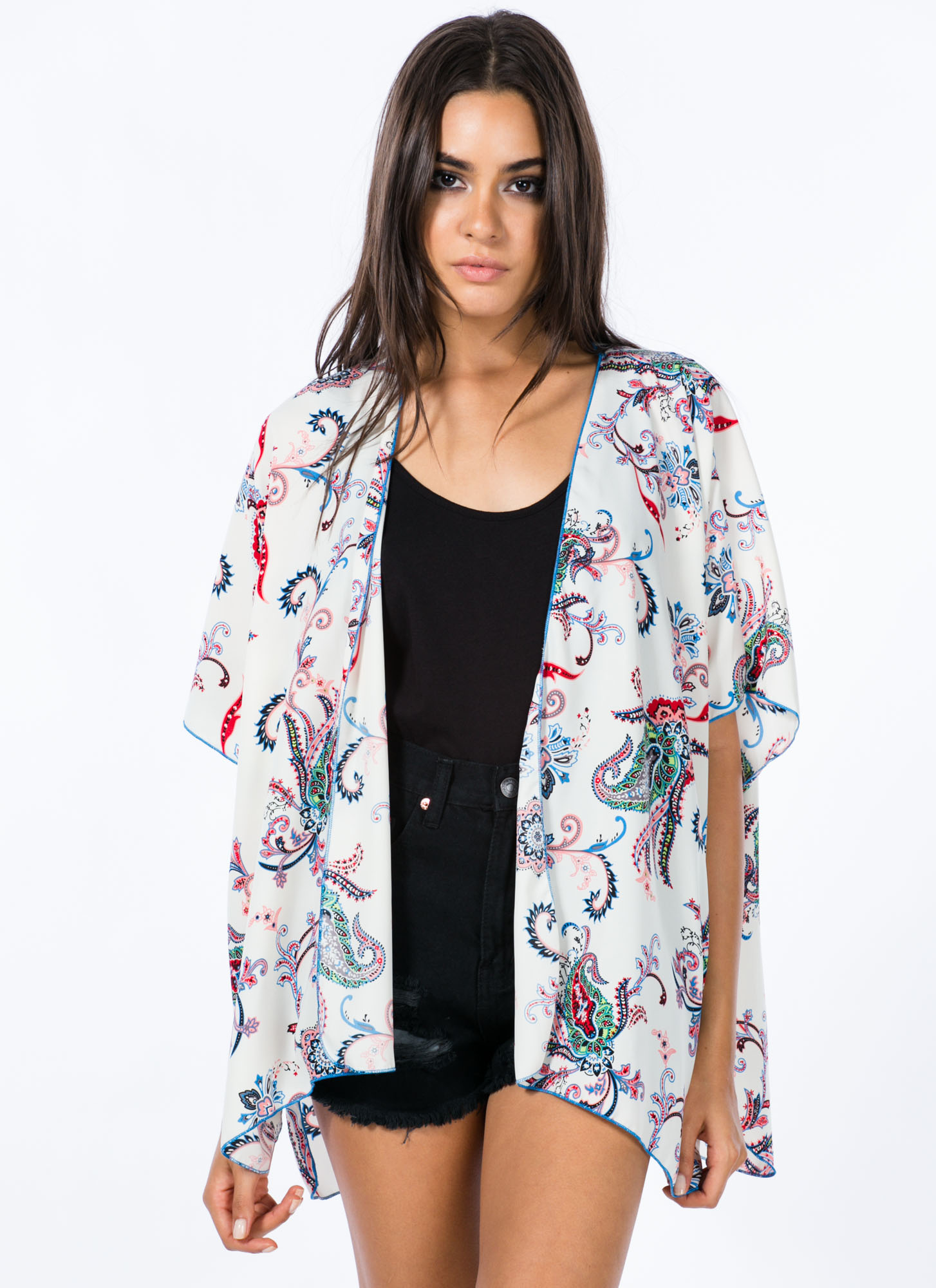 Paisley It Forward Floral Kimono WHITE