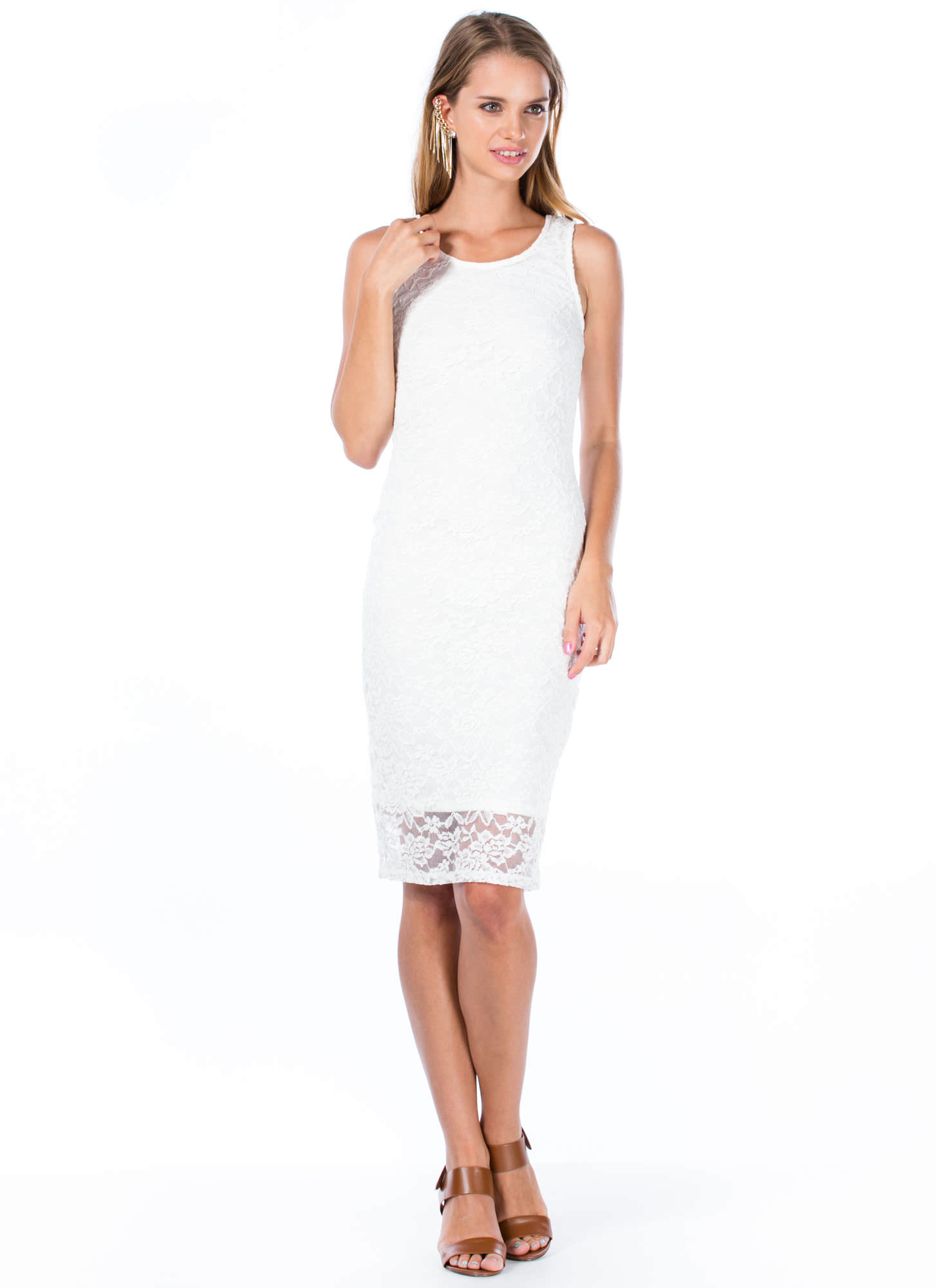 More Or Lace Strappy Back Midi Dress WHITE