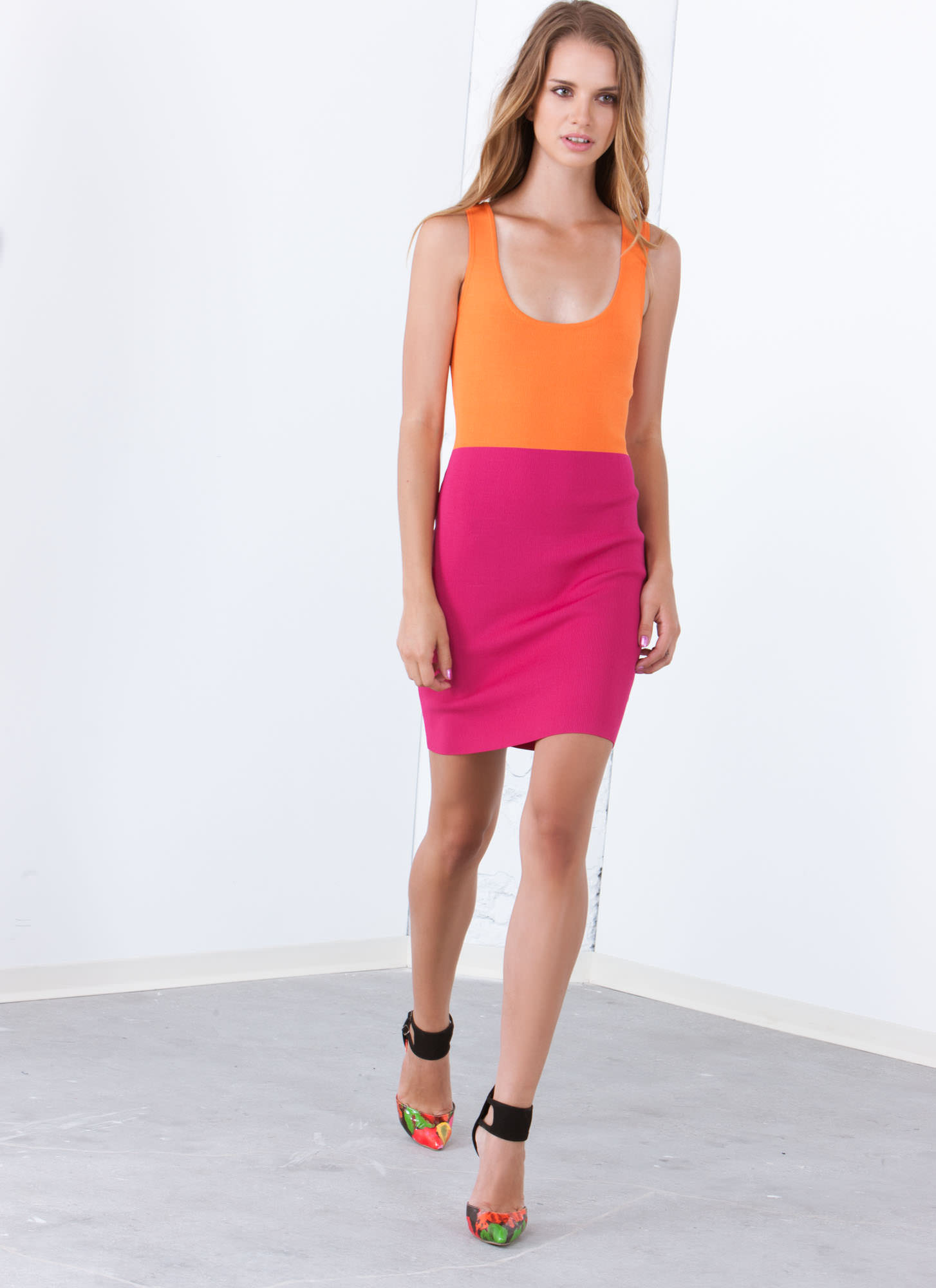 Colorblock Party Strappy Knit Dress ORANGEPINK