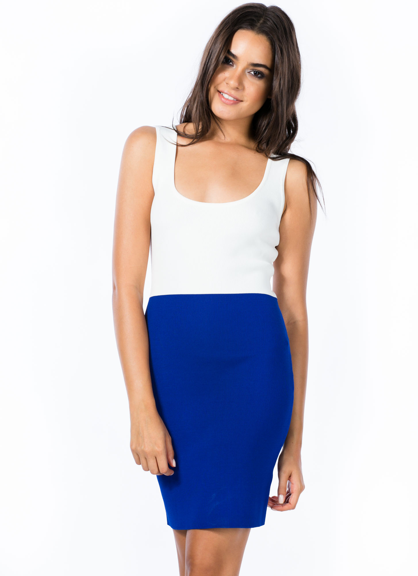 Colorblock Party Strappy Knit Dress WHITEROYAL