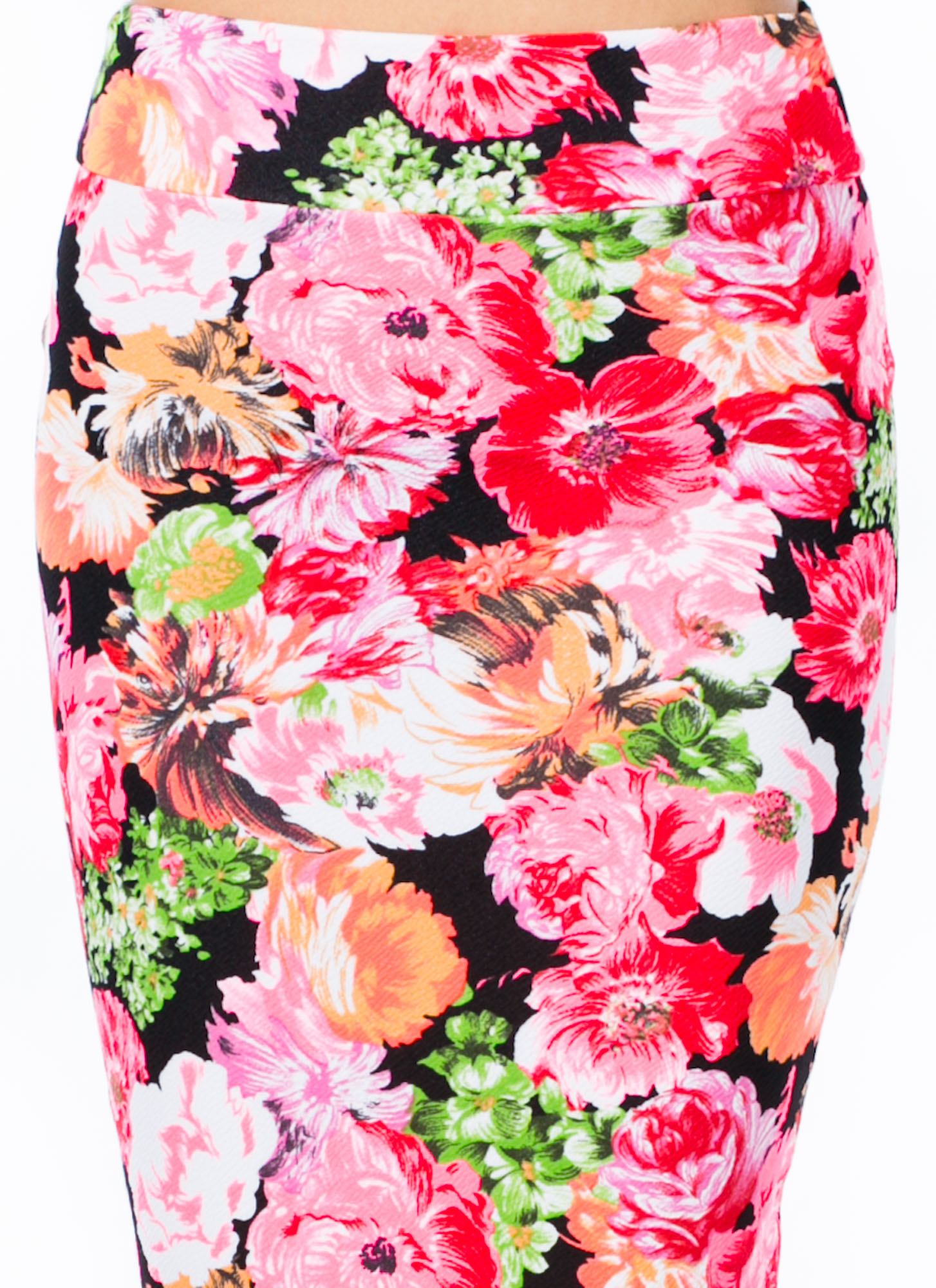 Painted Blooms Print Skirt PINK