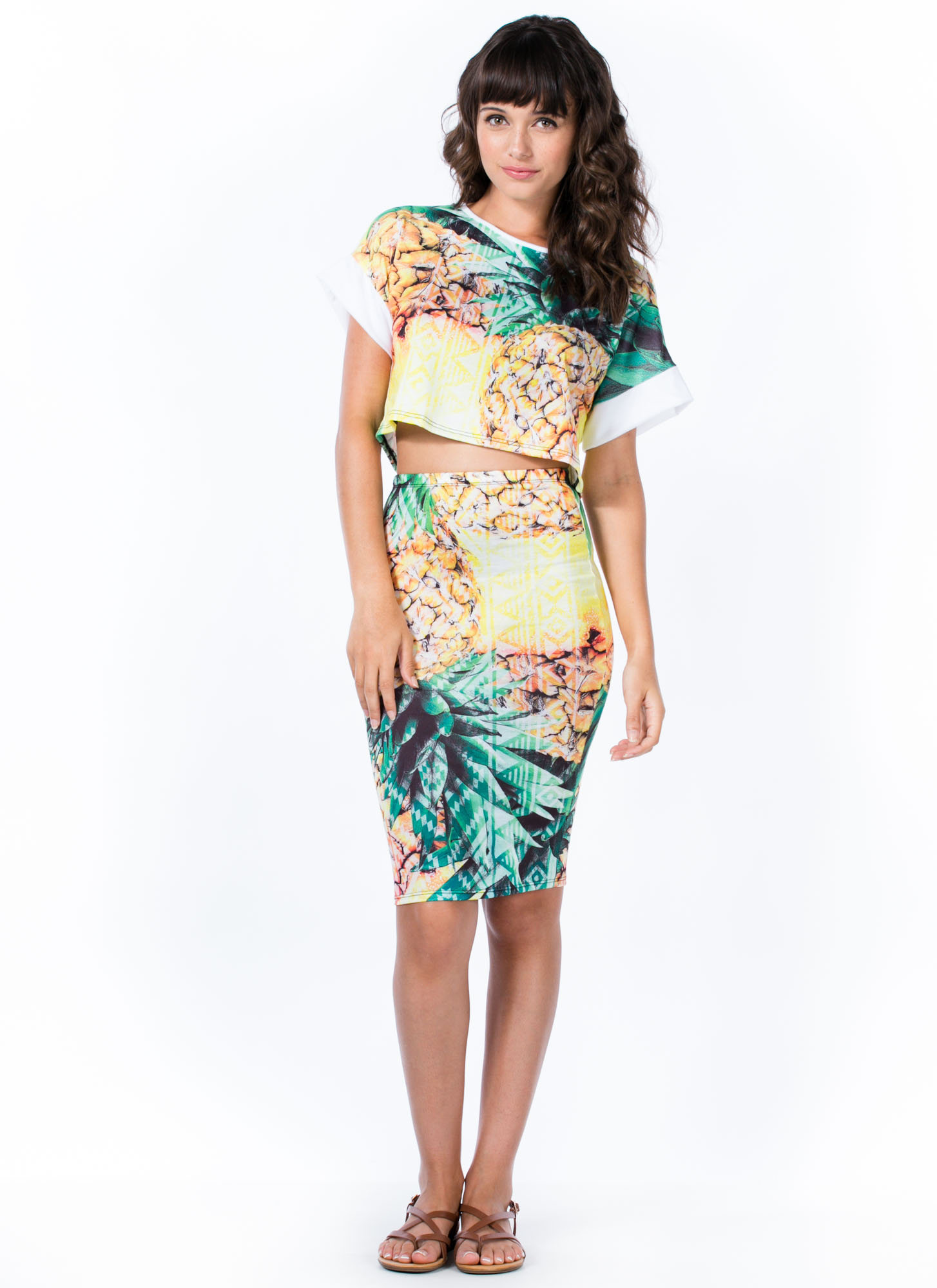 Pineapple A Day Pencil Skirt YELLOW