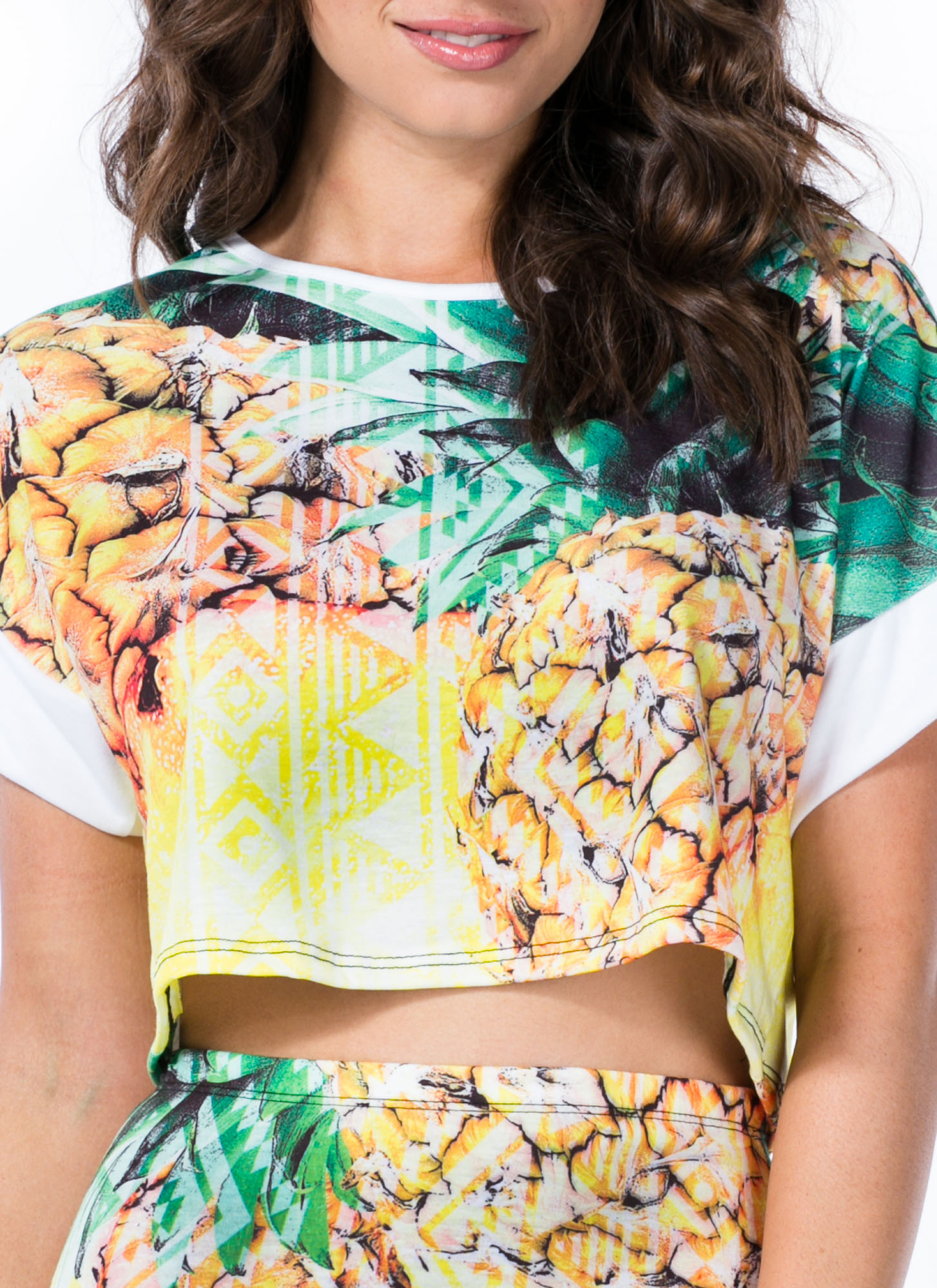 Pineapple A Day Cropped Tee YELLOW