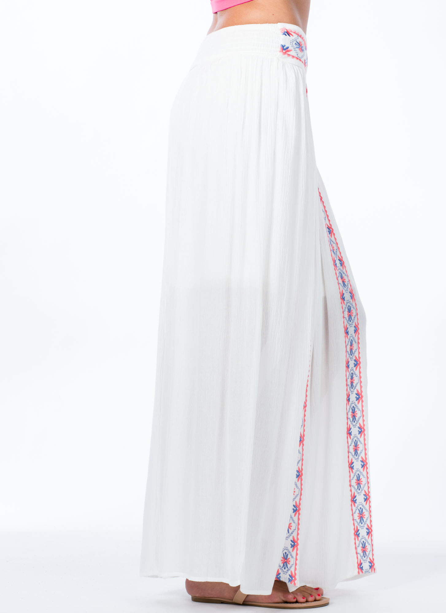 Hippie Life Embroidered Maxi Skirt IVORY