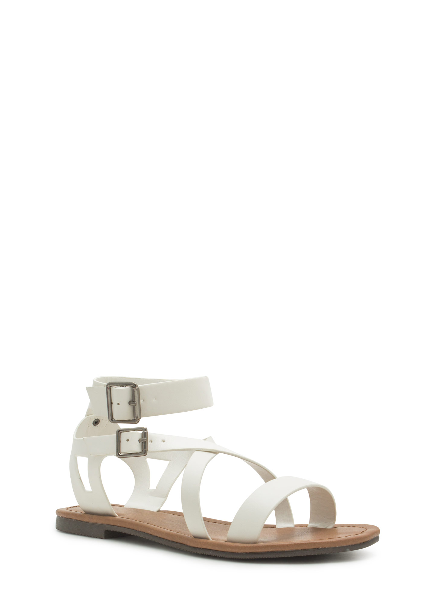 Explorer Strappy Faux Leather Sandals OFFWHITE