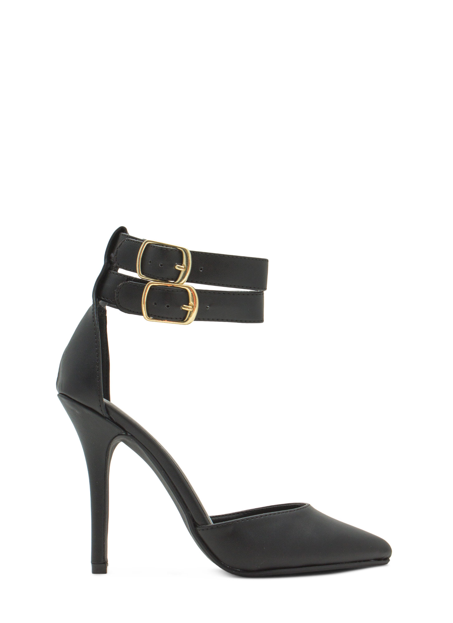 Two-Timer Ankle Strap D'Orsay Heels BLACK