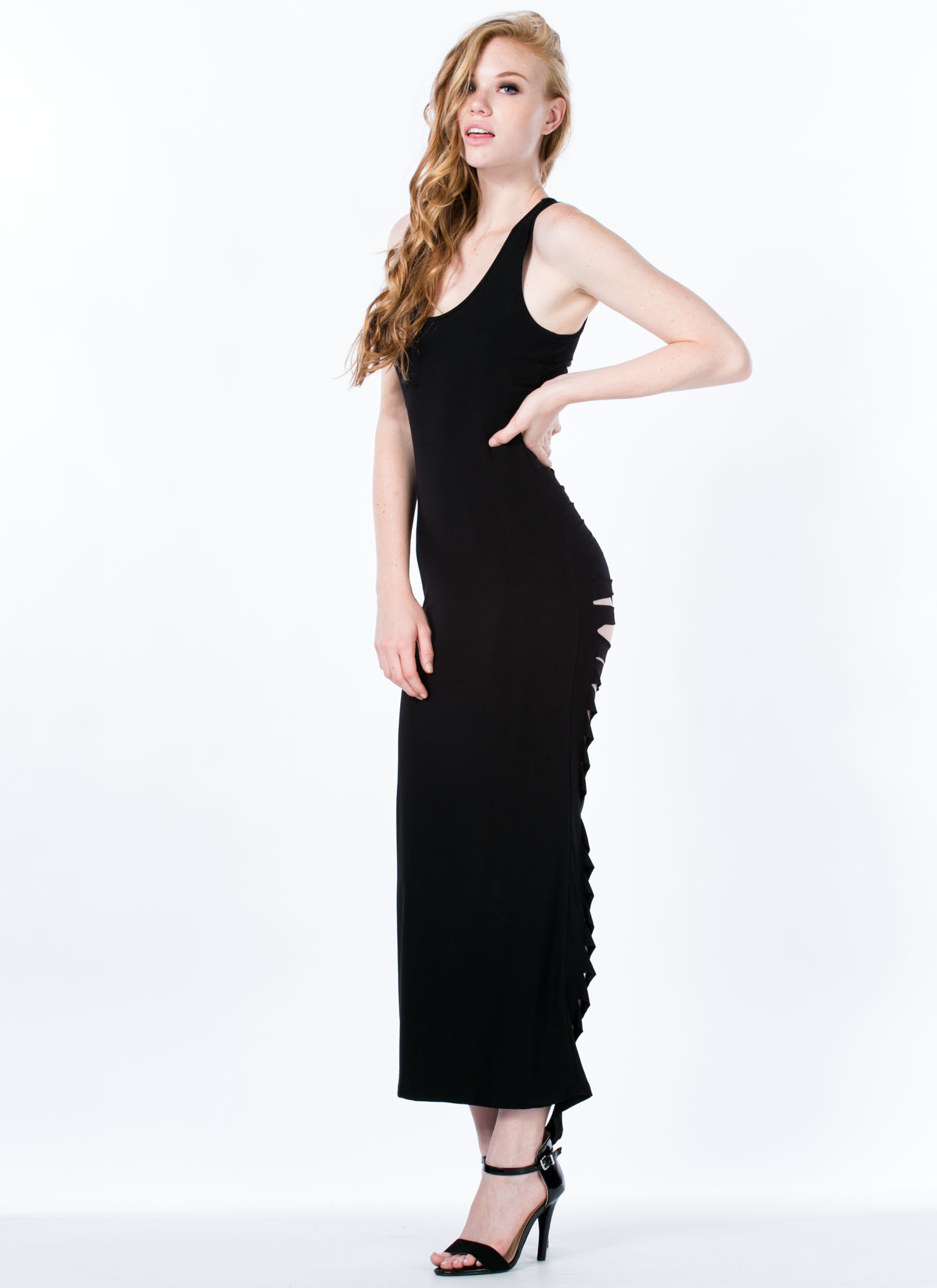 Shredded Back Maxi Dress BLACK