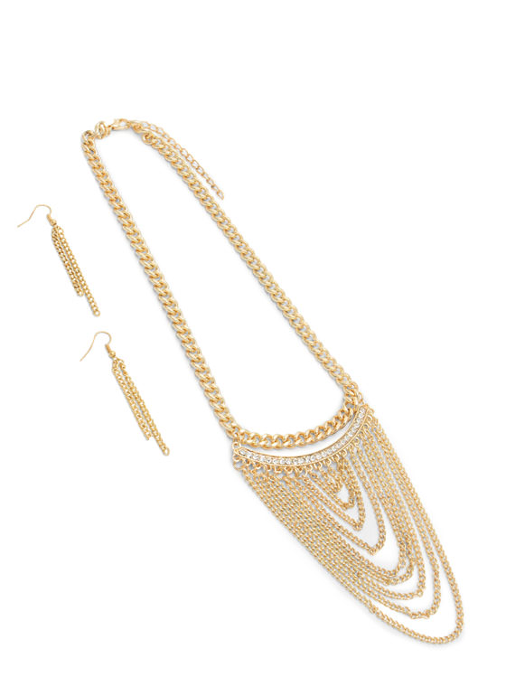 Rhinestone Curved Bar Necklace Set GOLD