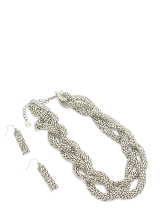 Metal Braided Chain Necklace Set SILVER