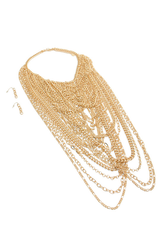 Layered Mixed Chains Necklace Set GOLD
