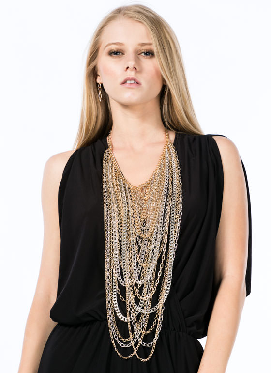 Layered Mixed Chains Necklace Set MULTI
