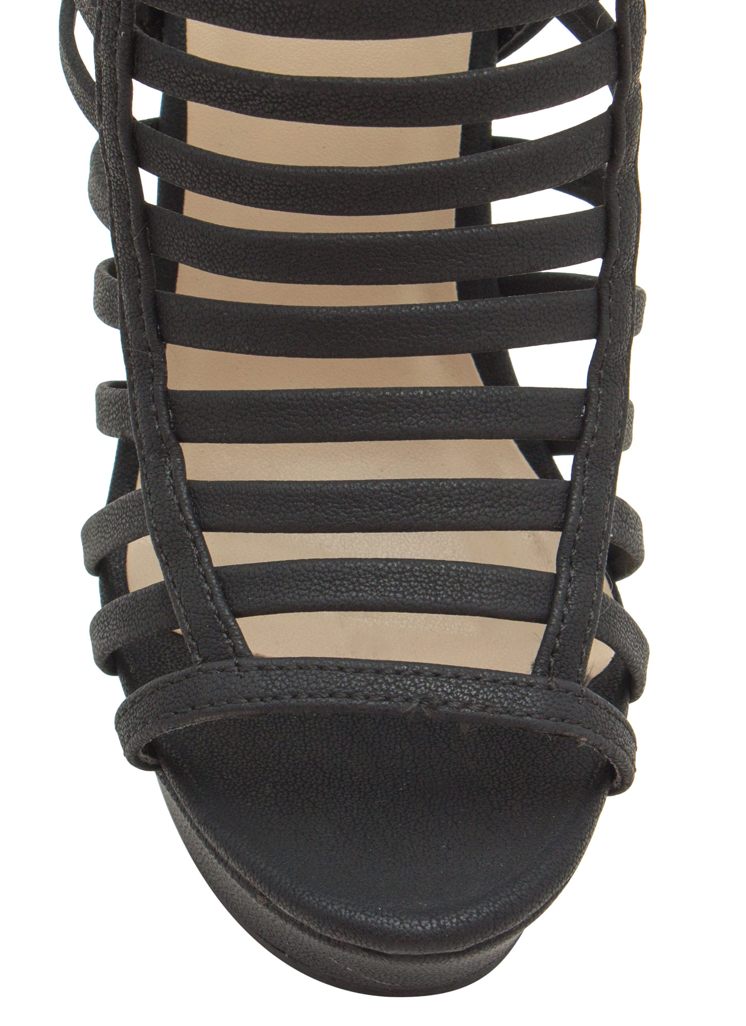 Cage Before Beauty Strappy Wedges BLACK