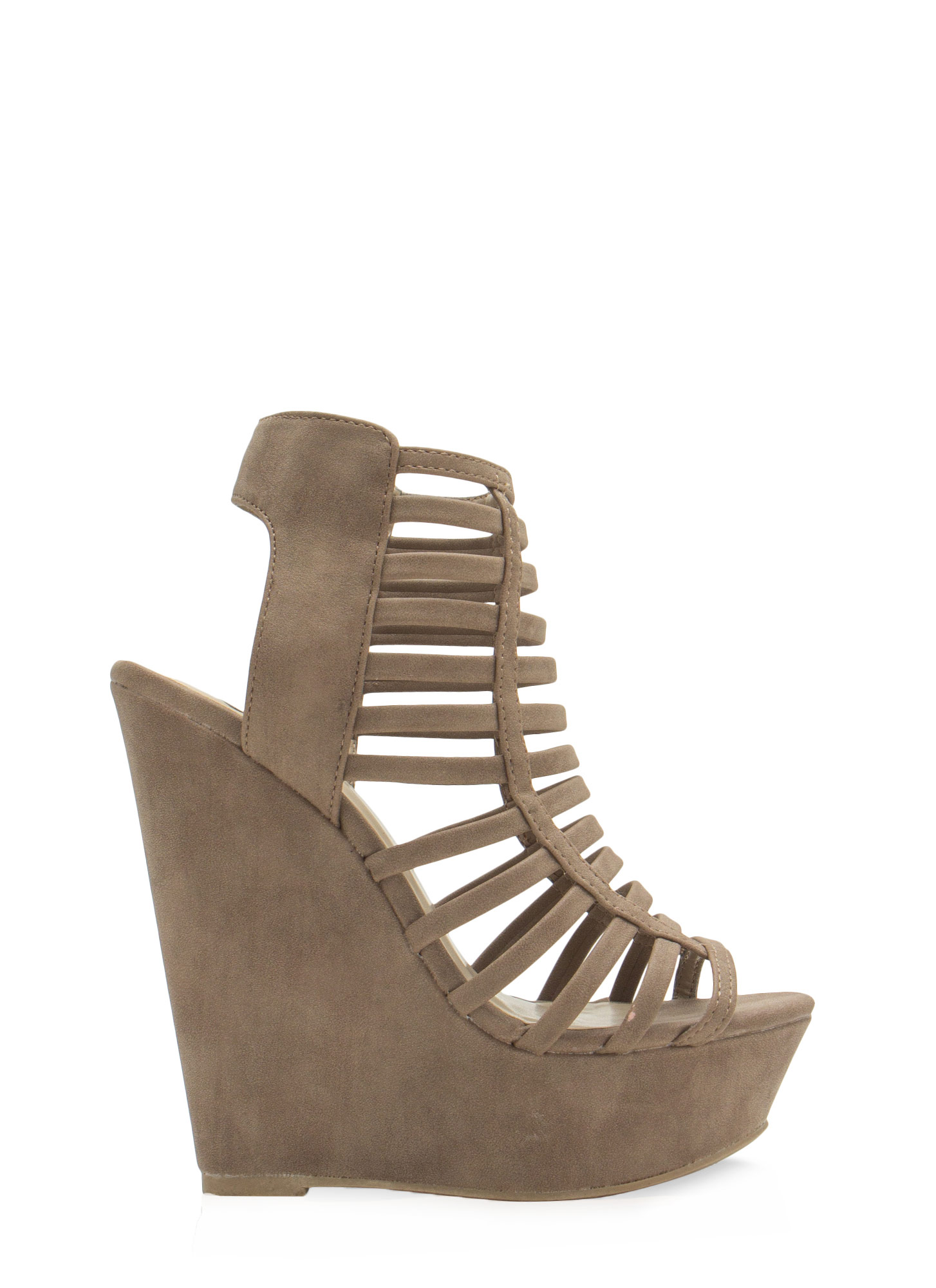 Cage Before Beauty Strappy Wedges TAUPE