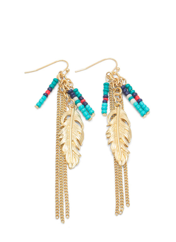 Beaded Feather And Chains Earrings GOLDTURQ