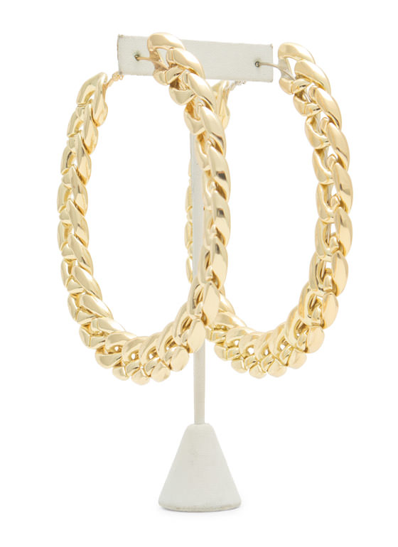 Oversized Curb Chain Hoop Earrings GOLD